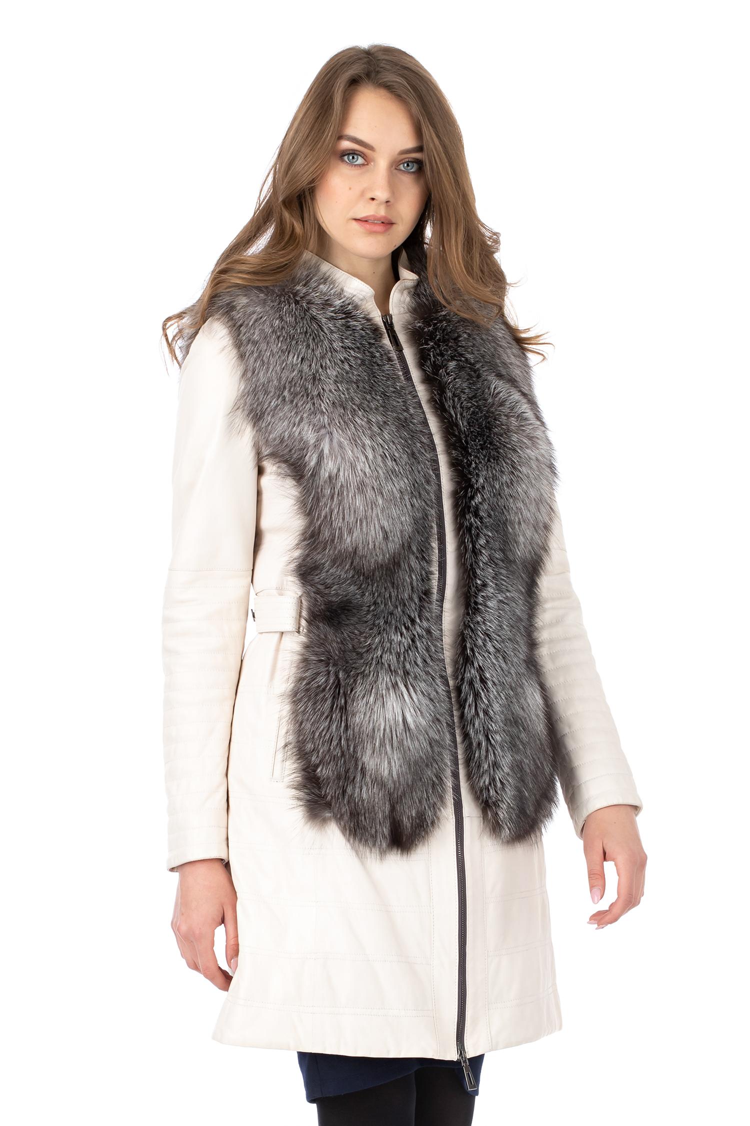 Купить со скидкой Женское кожаное пальто из натуральной кожи с воротником, отделка блюфрост