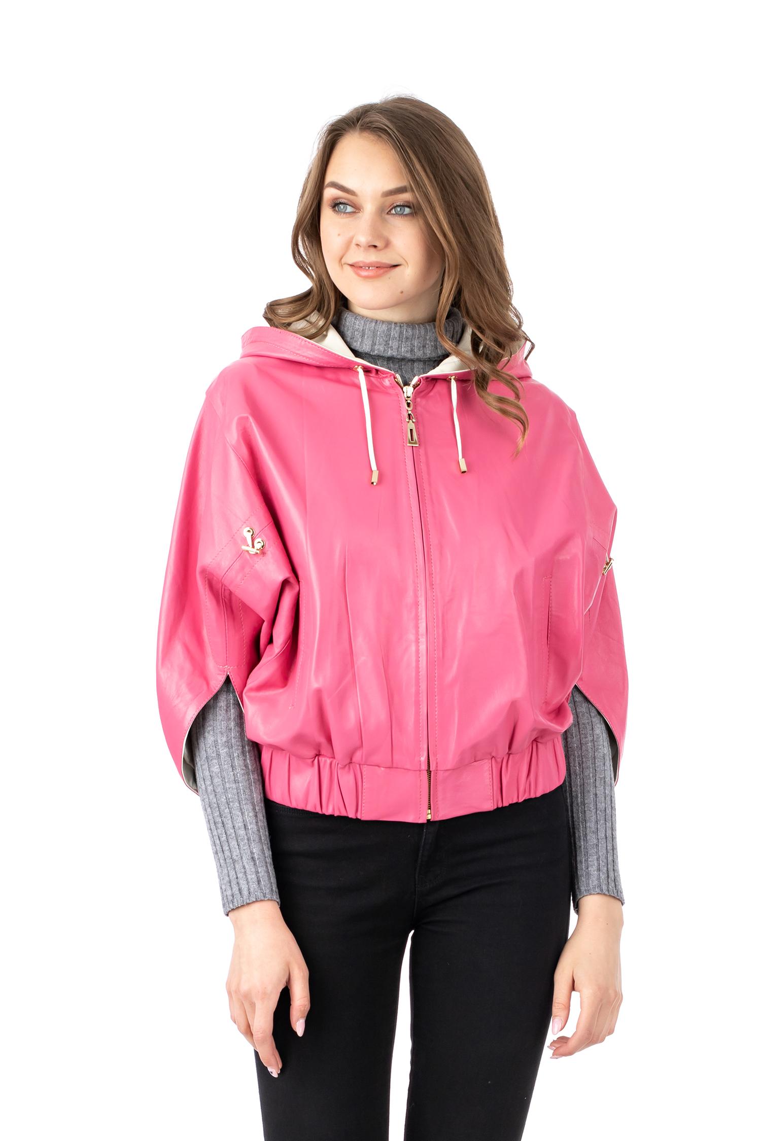 Купить со скидкой Женская кожаная куртка из натуральной кожи с капюшоном