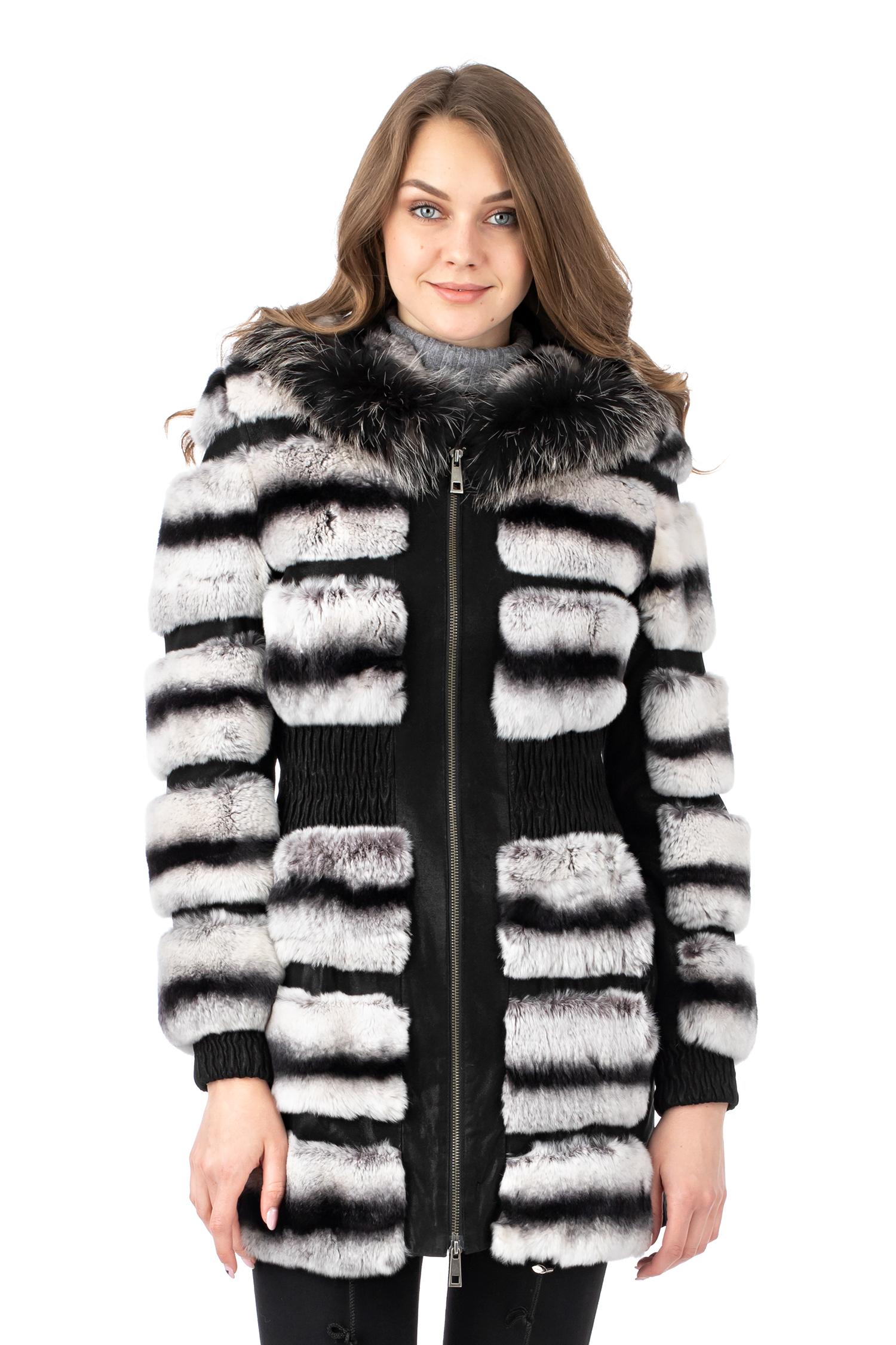 Женская кожаная куртка из натуральной кожи с капюшоном, отделка кролик