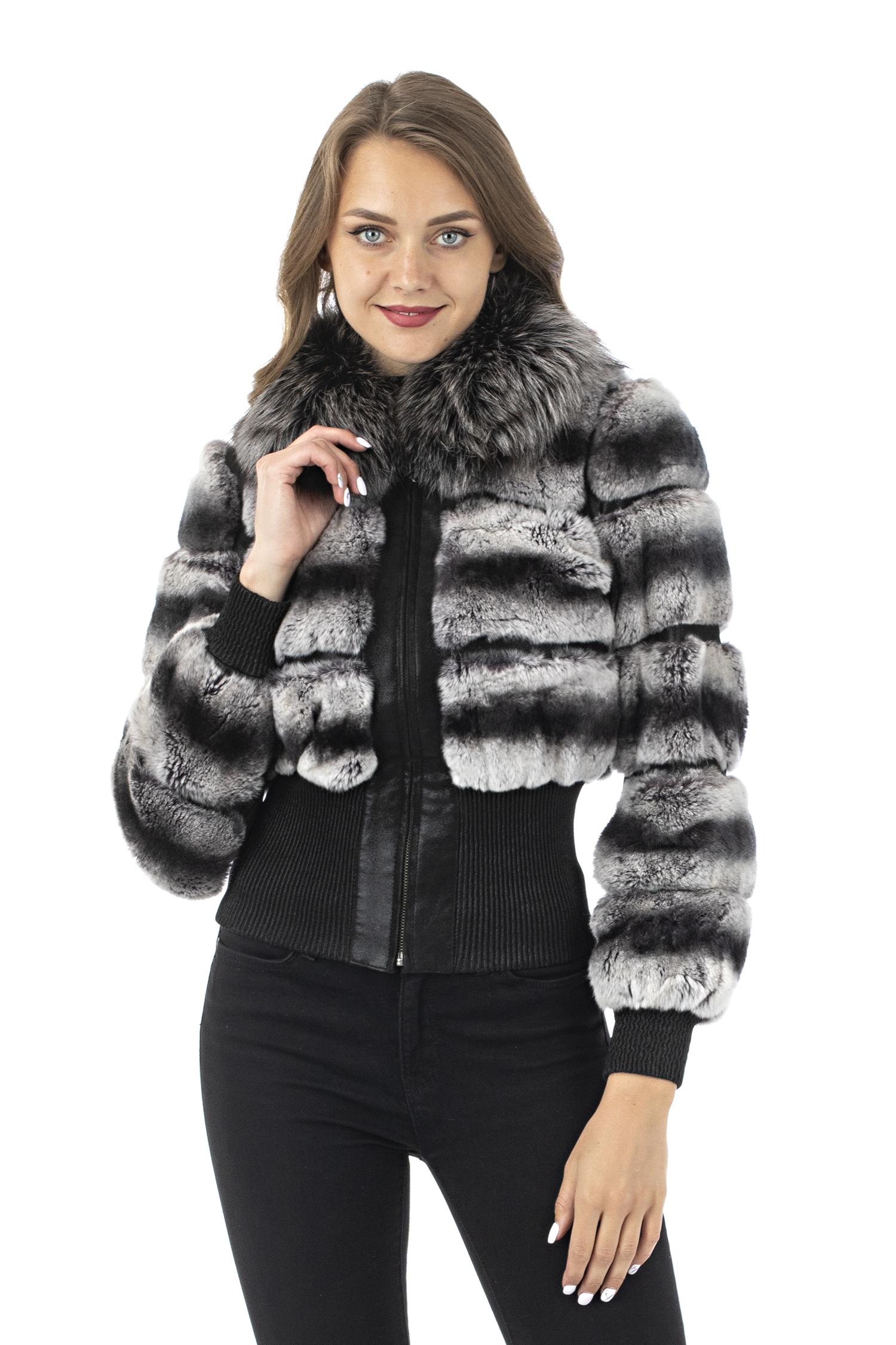 Женская кожаная куртка из натуральной замши с воротником, отделка кролик