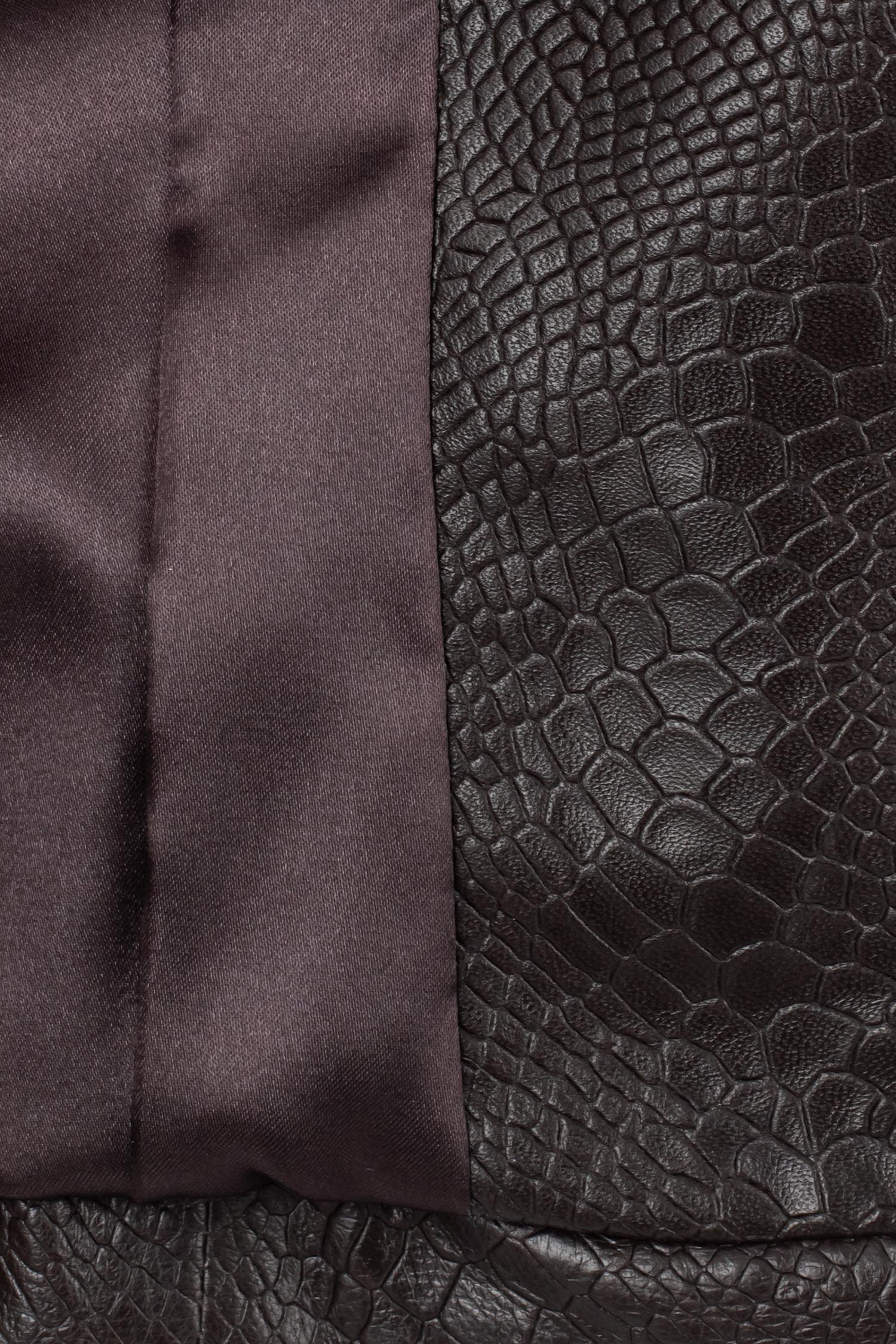 Фото 4 - Женская кожаная куртка из натуральной кожи без воротника от МОСМЕХА коричневого цвета