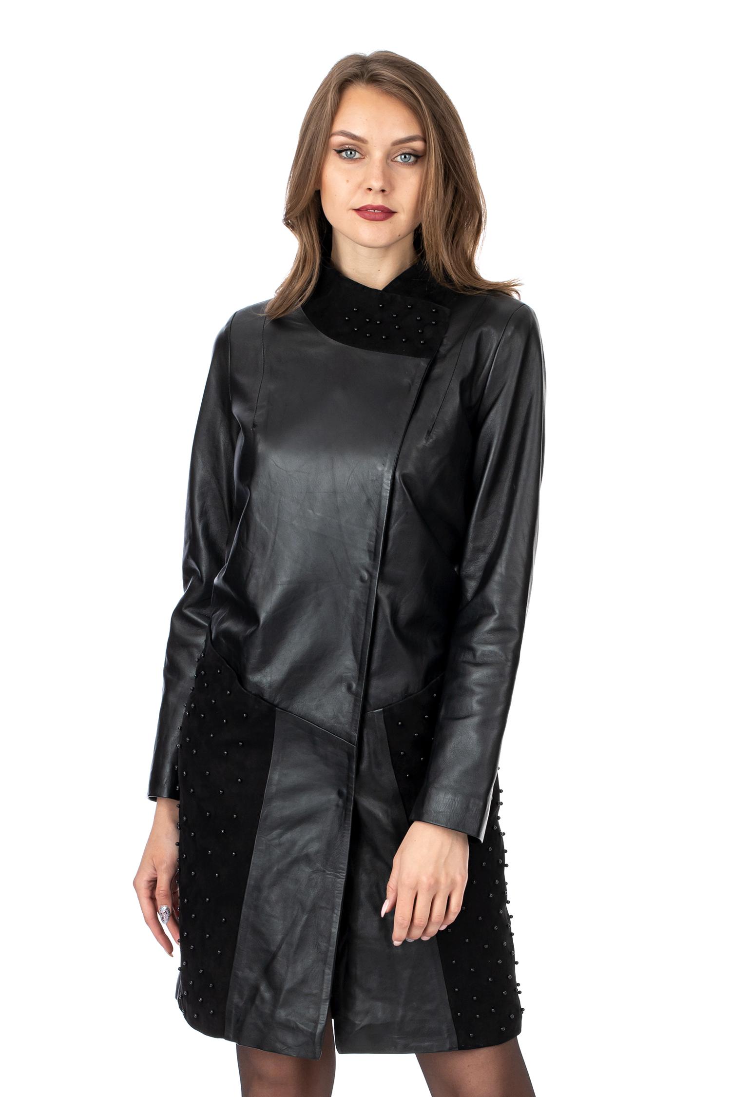 Женское кожаное пальто из натуральной кожи с воротником, отделка замша