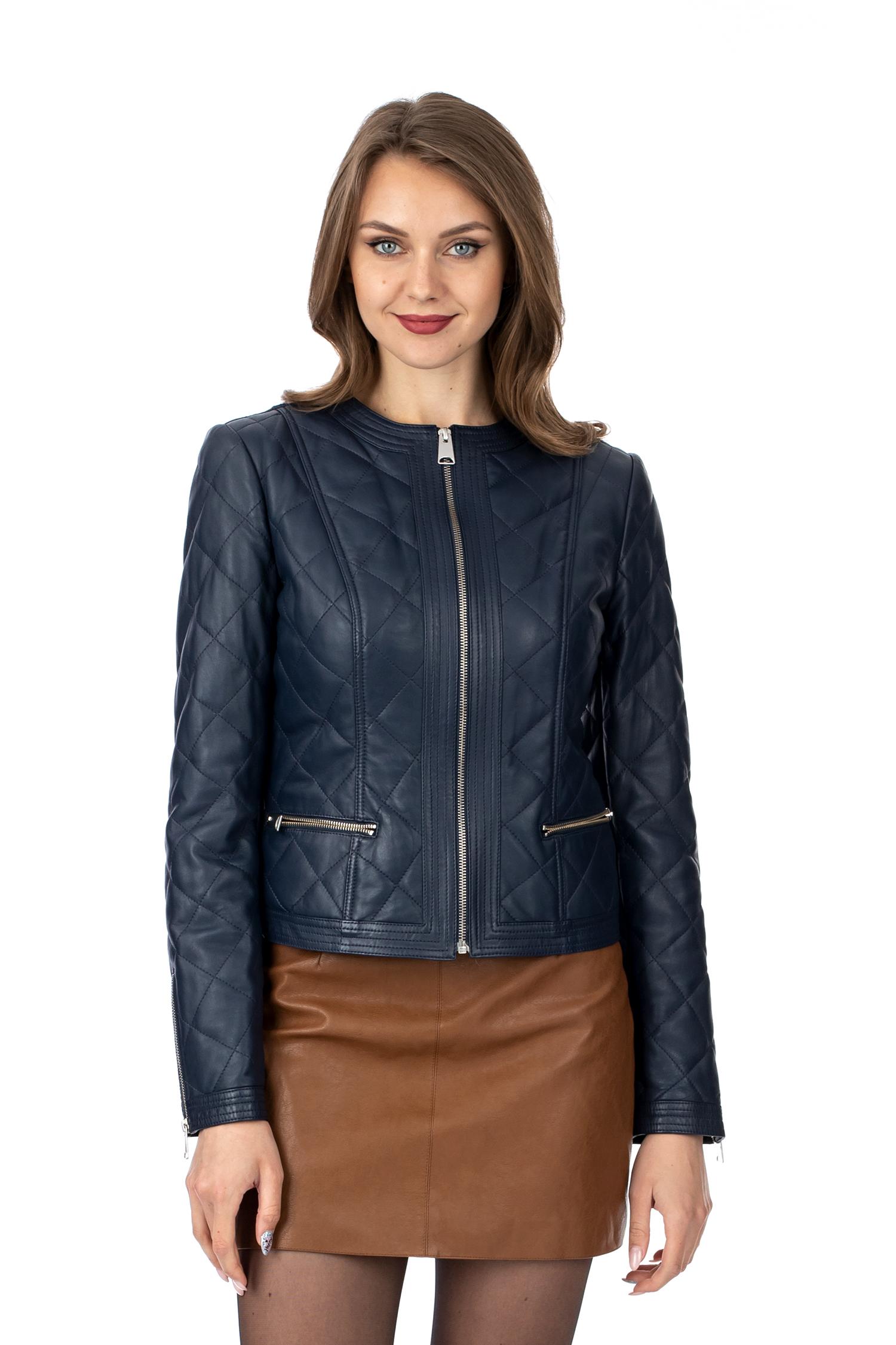 Женская кожаная куртка из натуральной кожи без воротника МОСМЕХА