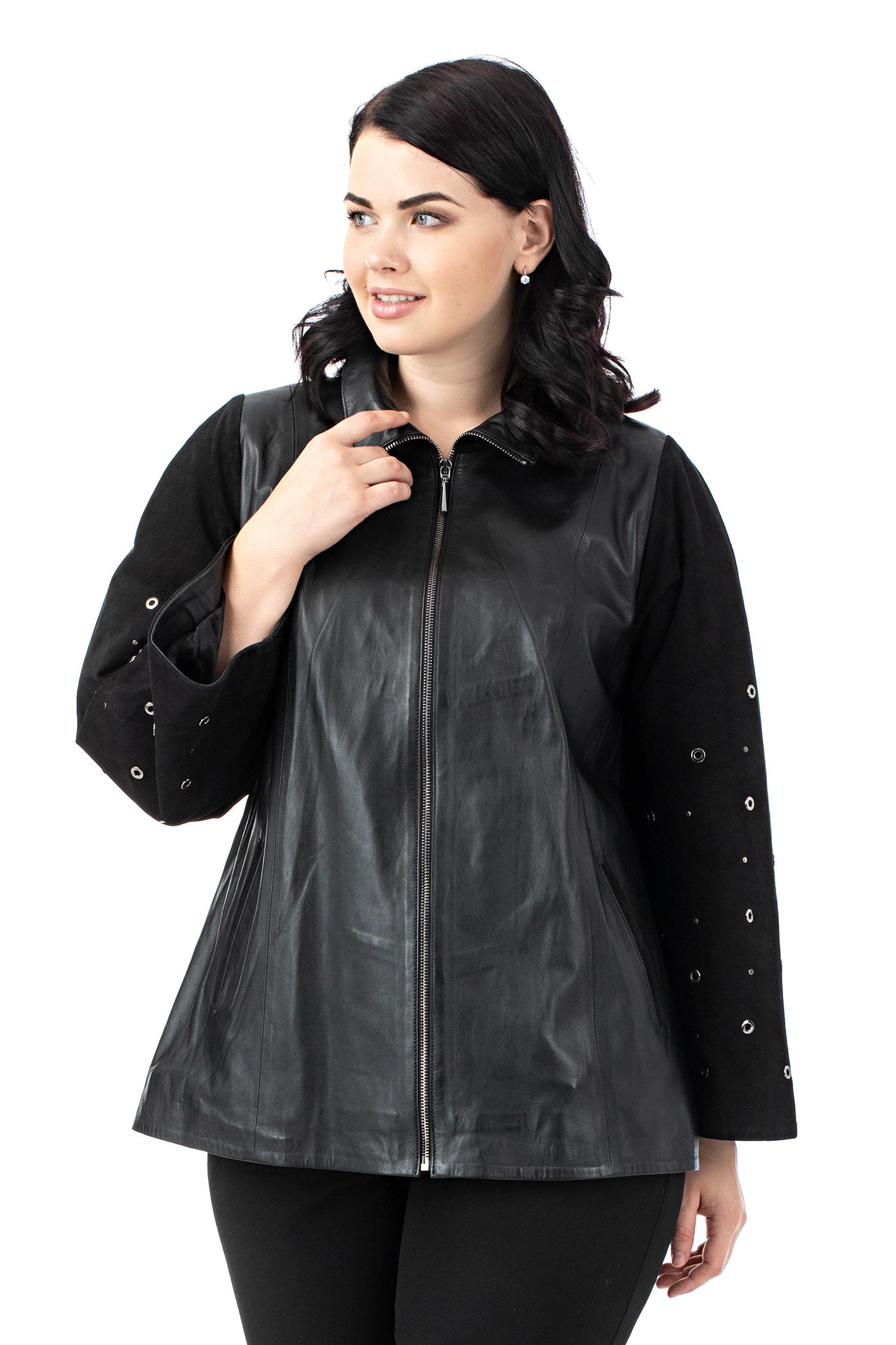 Женская кожаная куртка из натуральной кожи с воротником, отделка замша МОСМЕХА