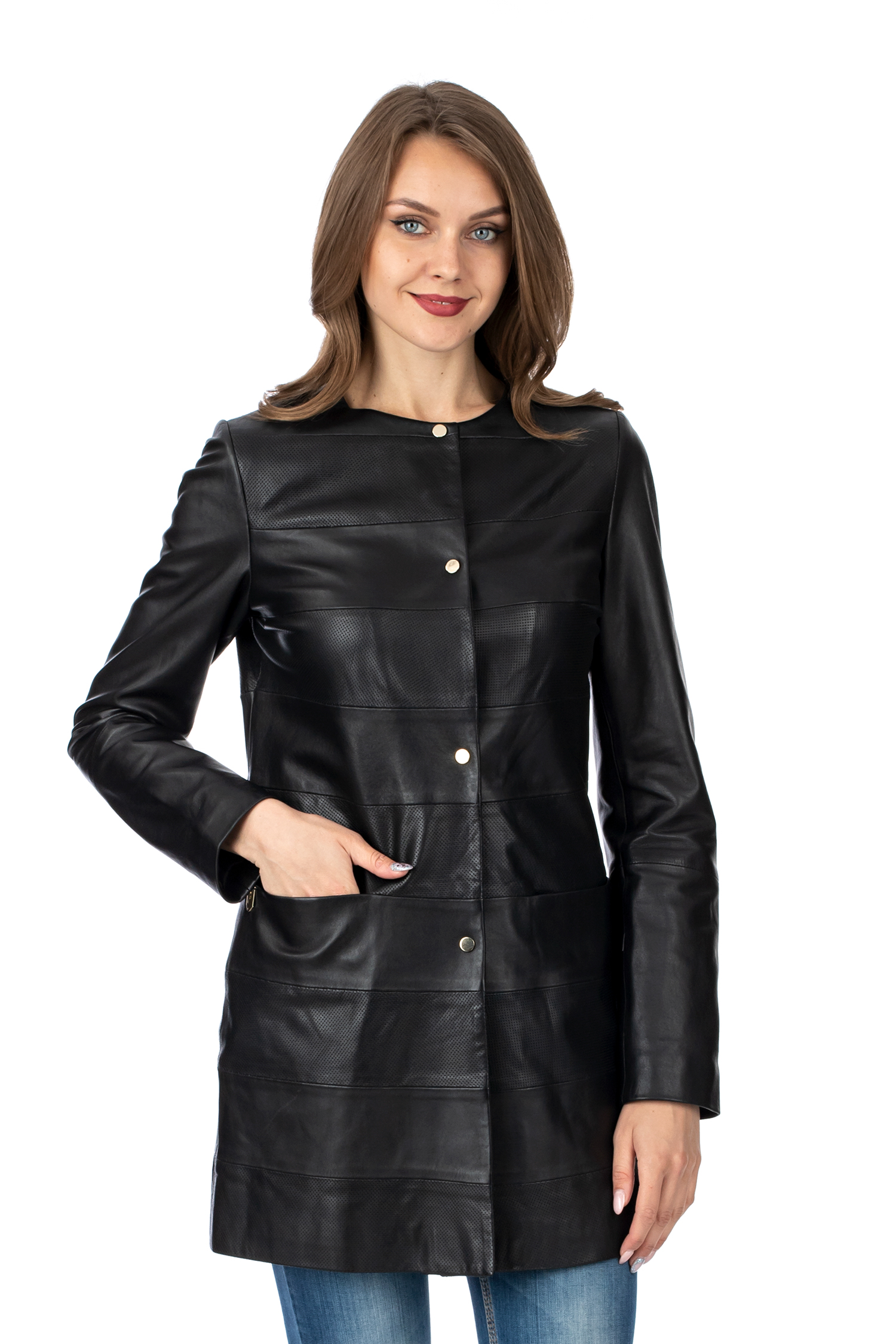 Женское кожаное пальто из натуральной кожи без воротника