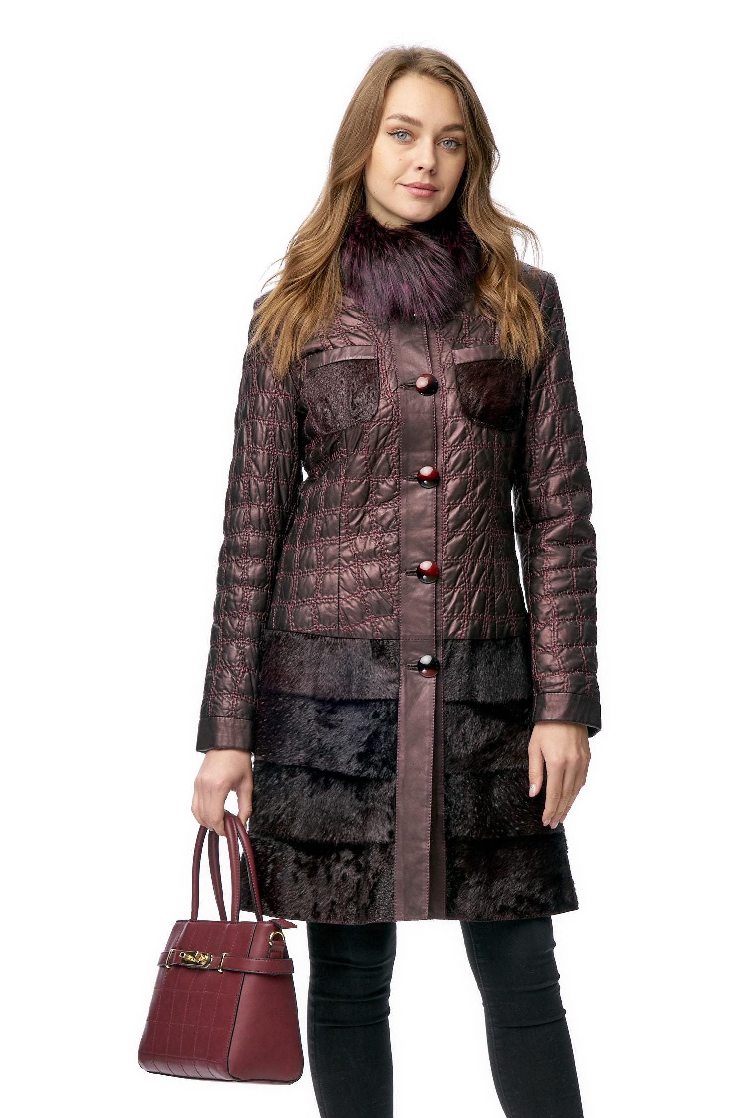 Женская кожаная куртка из натуральной кожи с воротником, отделка пони