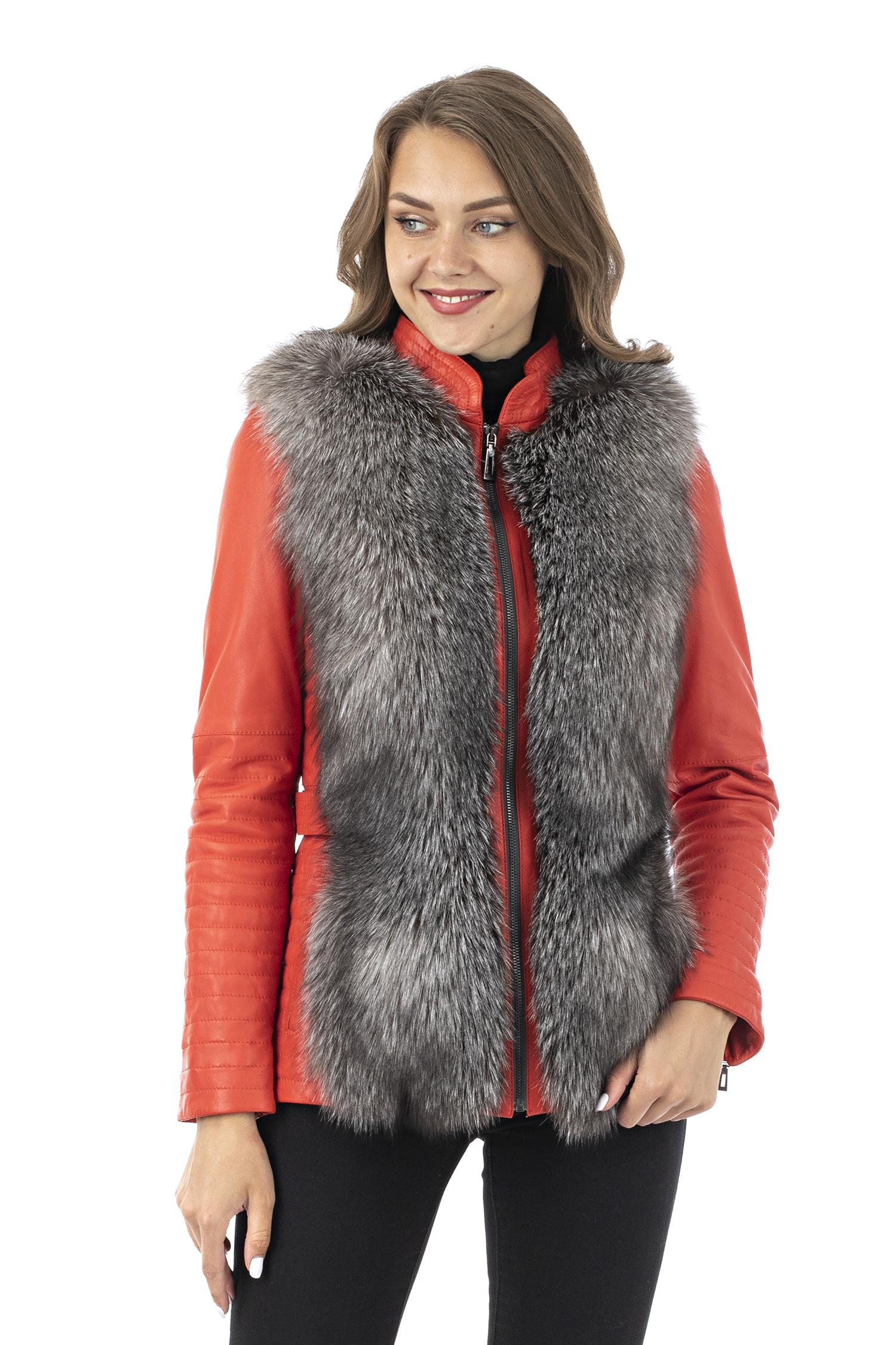 Женская кожаная куртка из натуральной кожи с воротником, отделка лиса