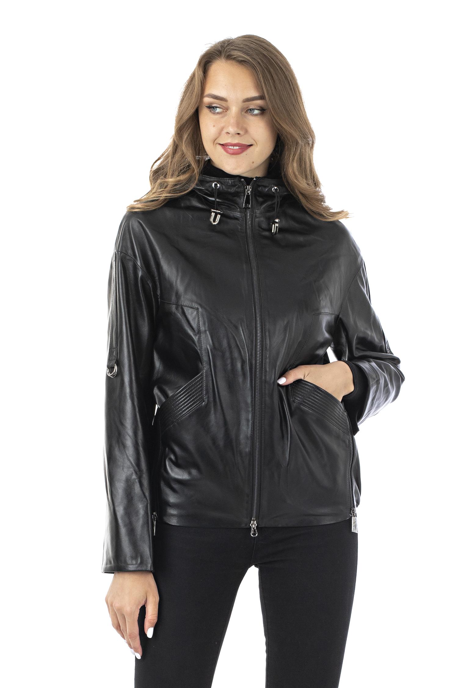 Женская кожаная куртка из натуральной кожи с капюшоном МОСМЕХА