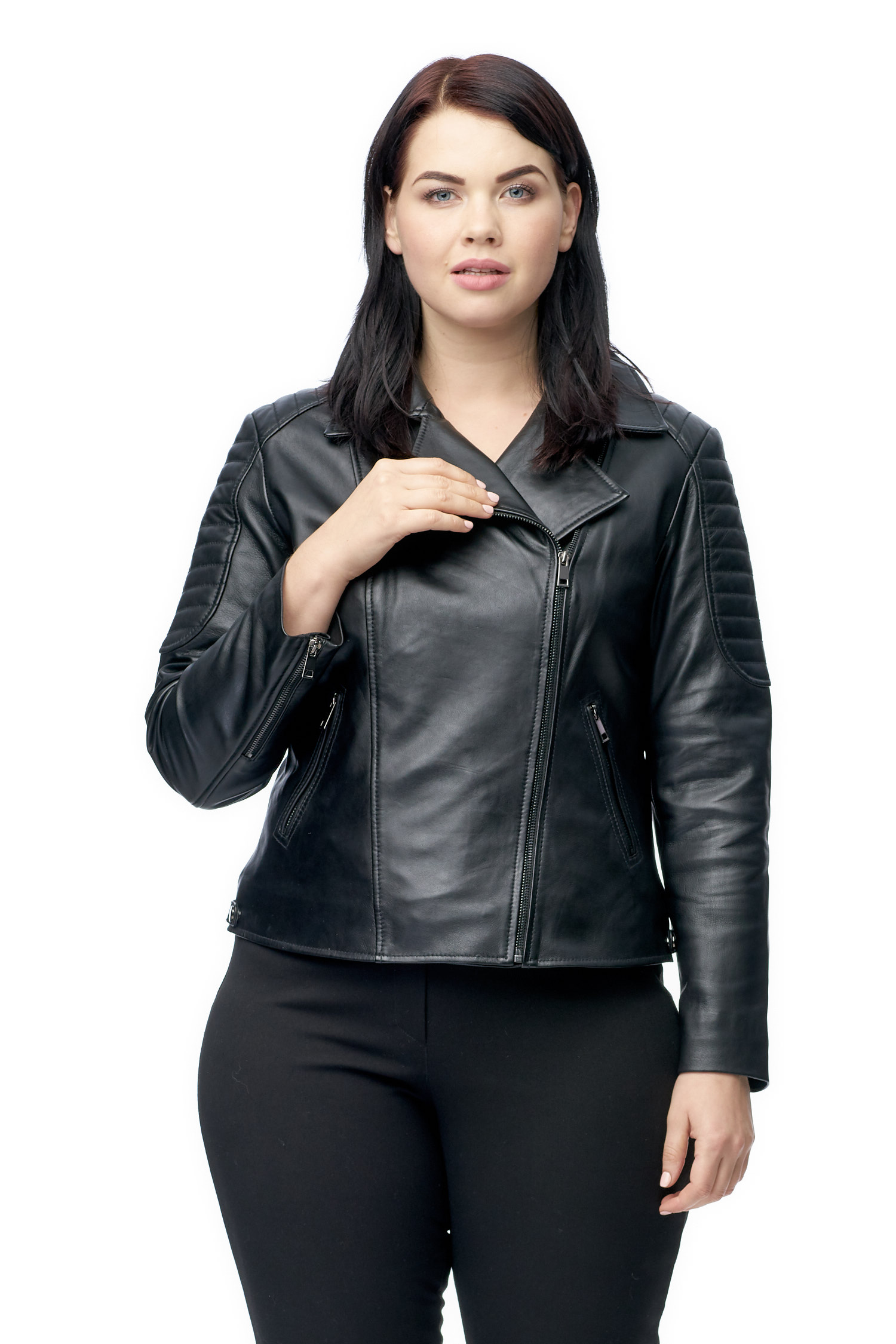 Женская кожаная куртка из натуральной кожи с воротником МОСМЕХА