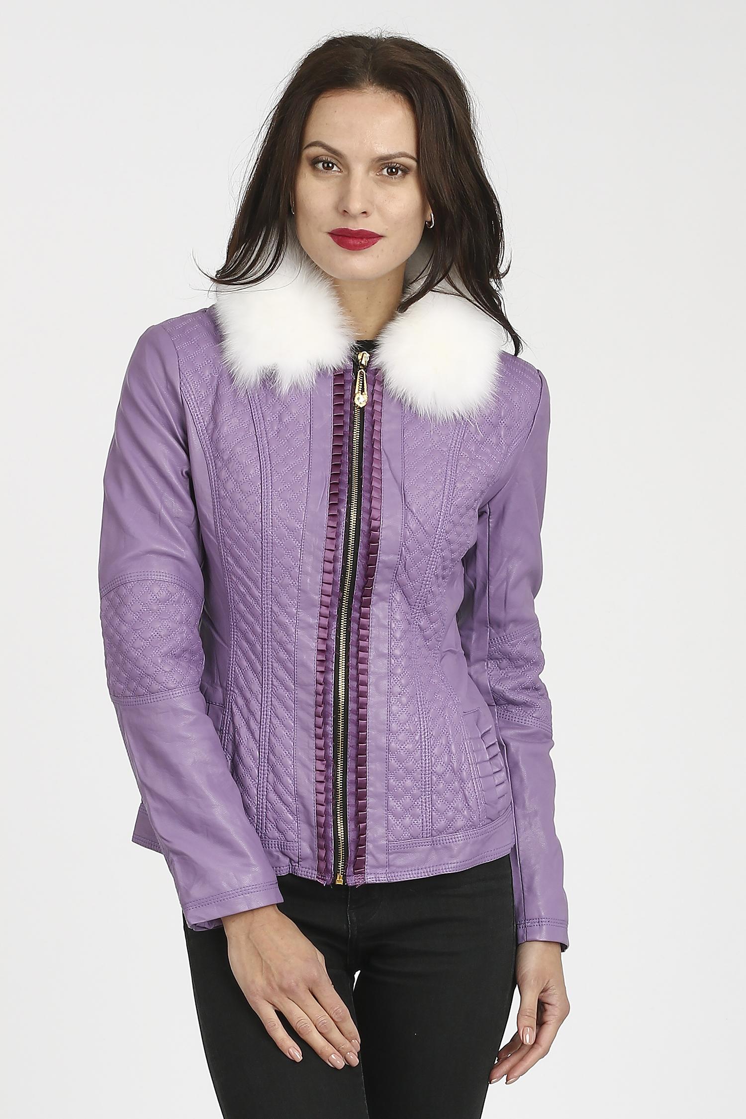 Женская кожаная куртка из эко-кожи с воротником, отделка песец