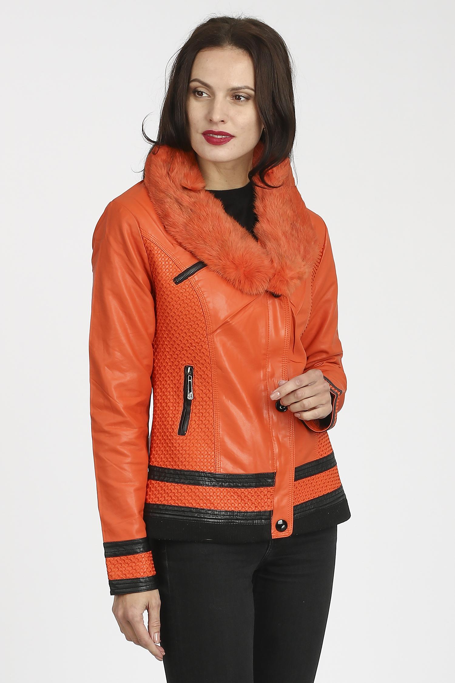 Женская кожаная куртка из эко-кожи с воротником, отделка кролик