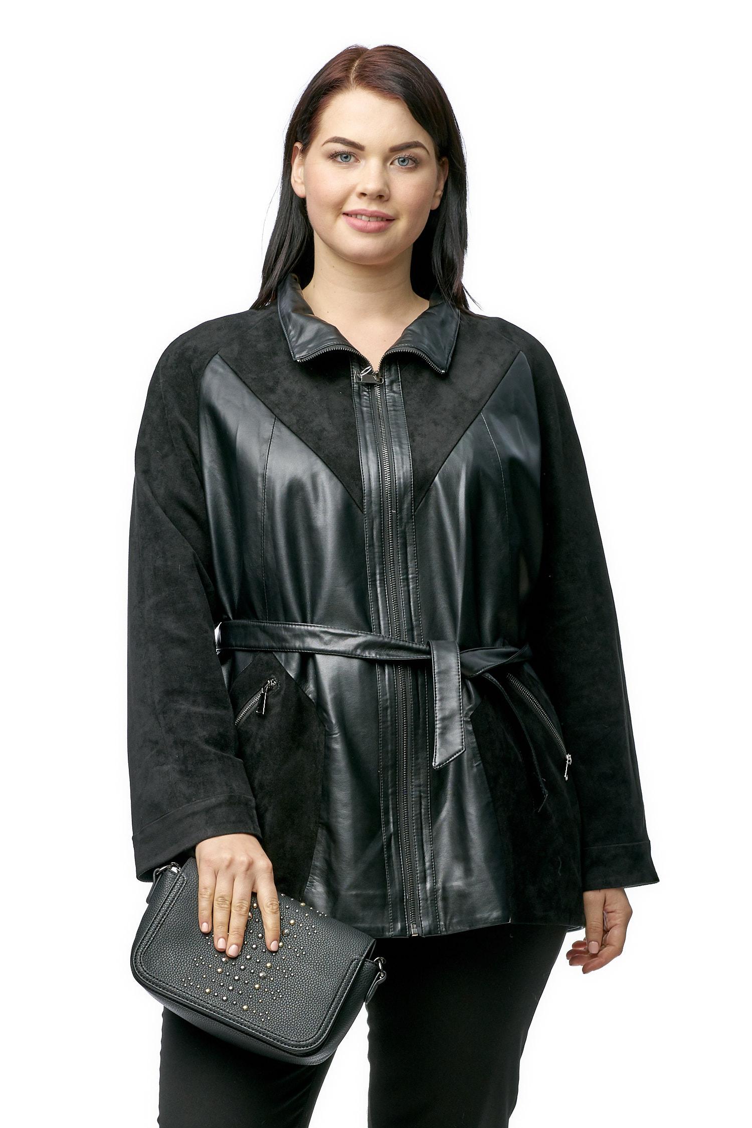 Женская кожаная куртка из эко-кожи с воротником, отделка искусственная замша