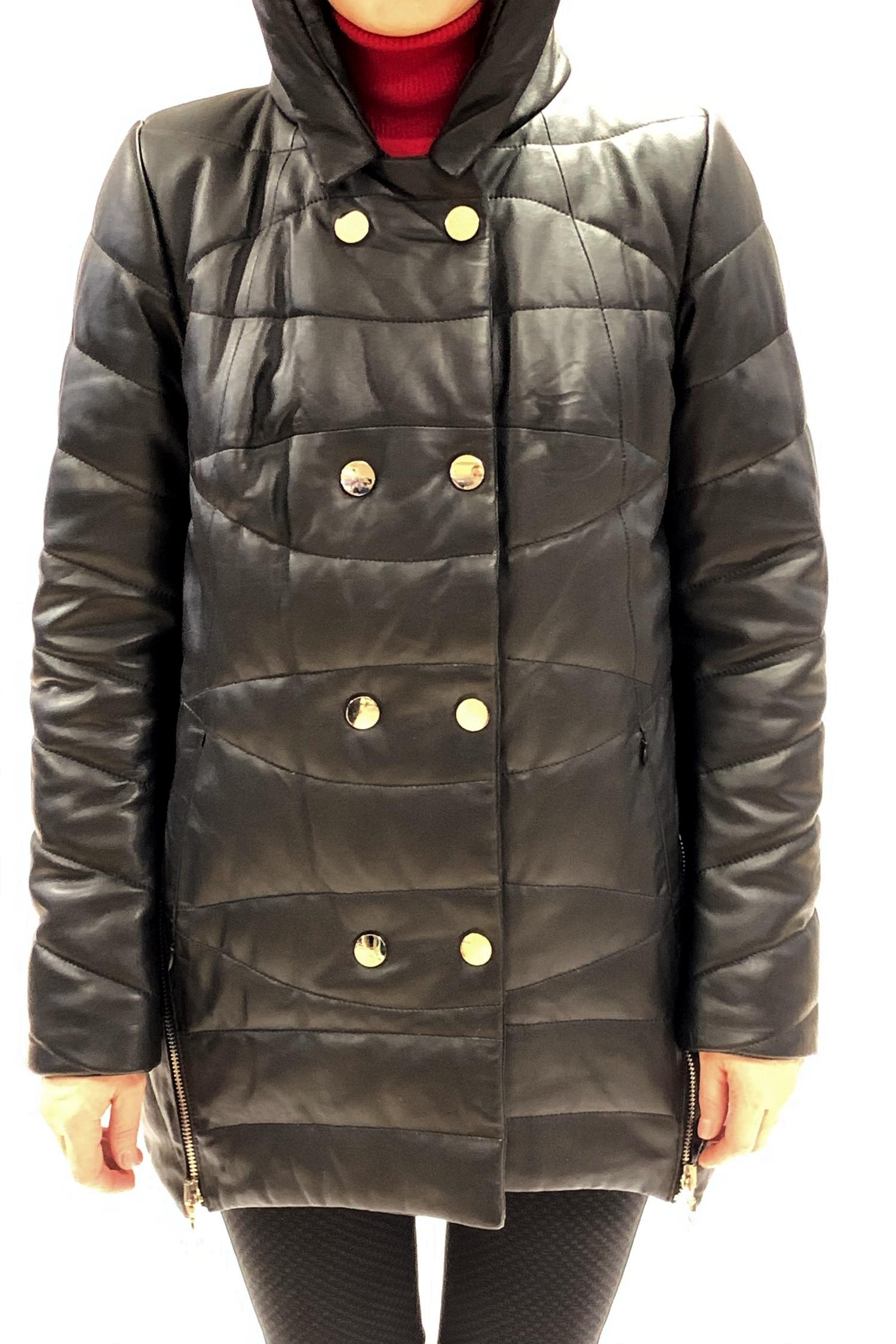 Женское кожаное пальто из натуральной кожи с капюшоном