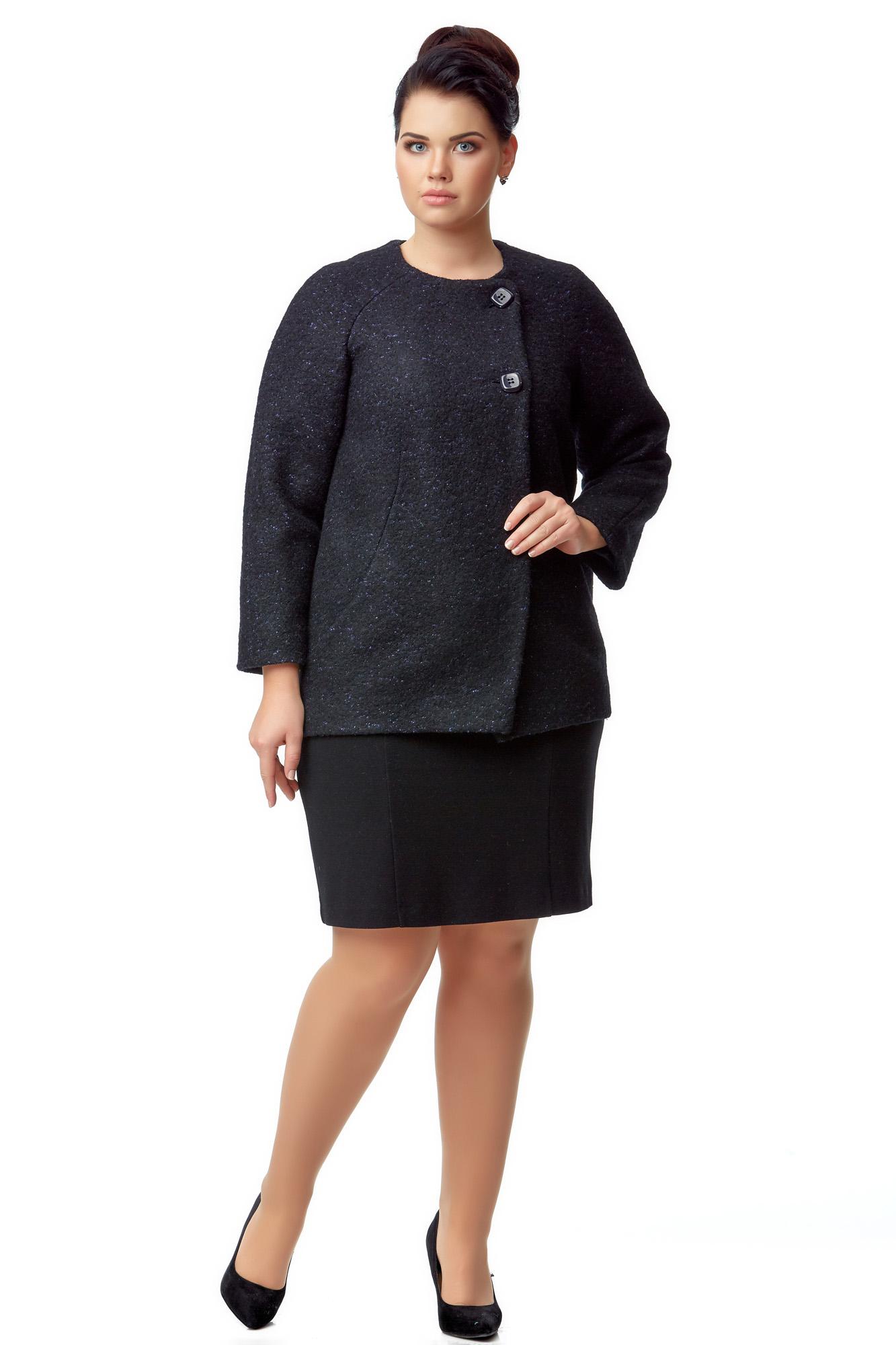 Женское пальто из текстиля без воротника МОСМЕХА