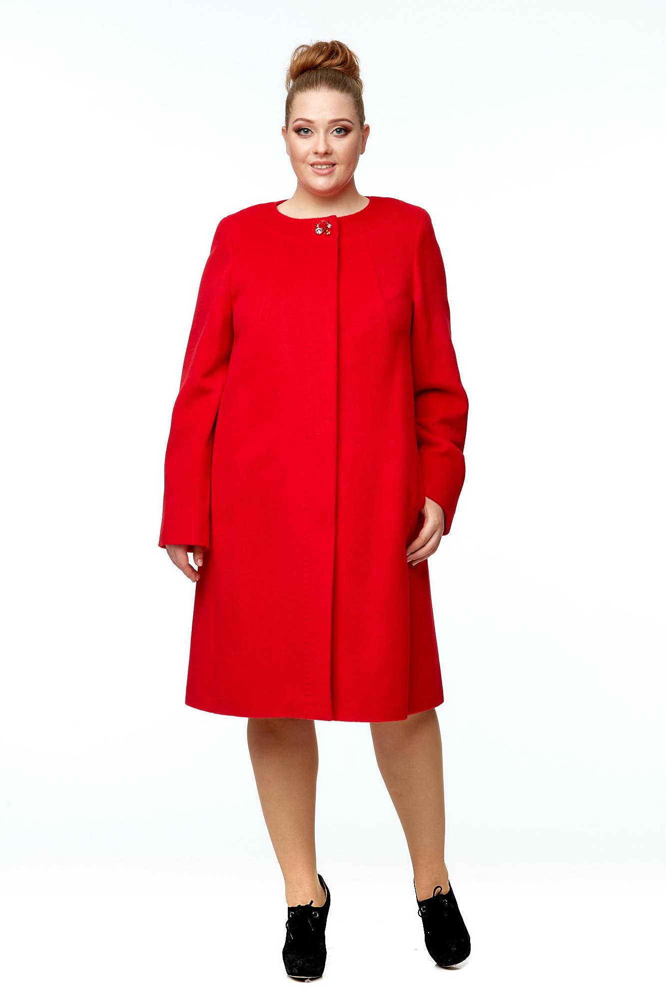Купить Женское пальто из текстиля, МОСМЕХА, красный, Шерсть, 8001994