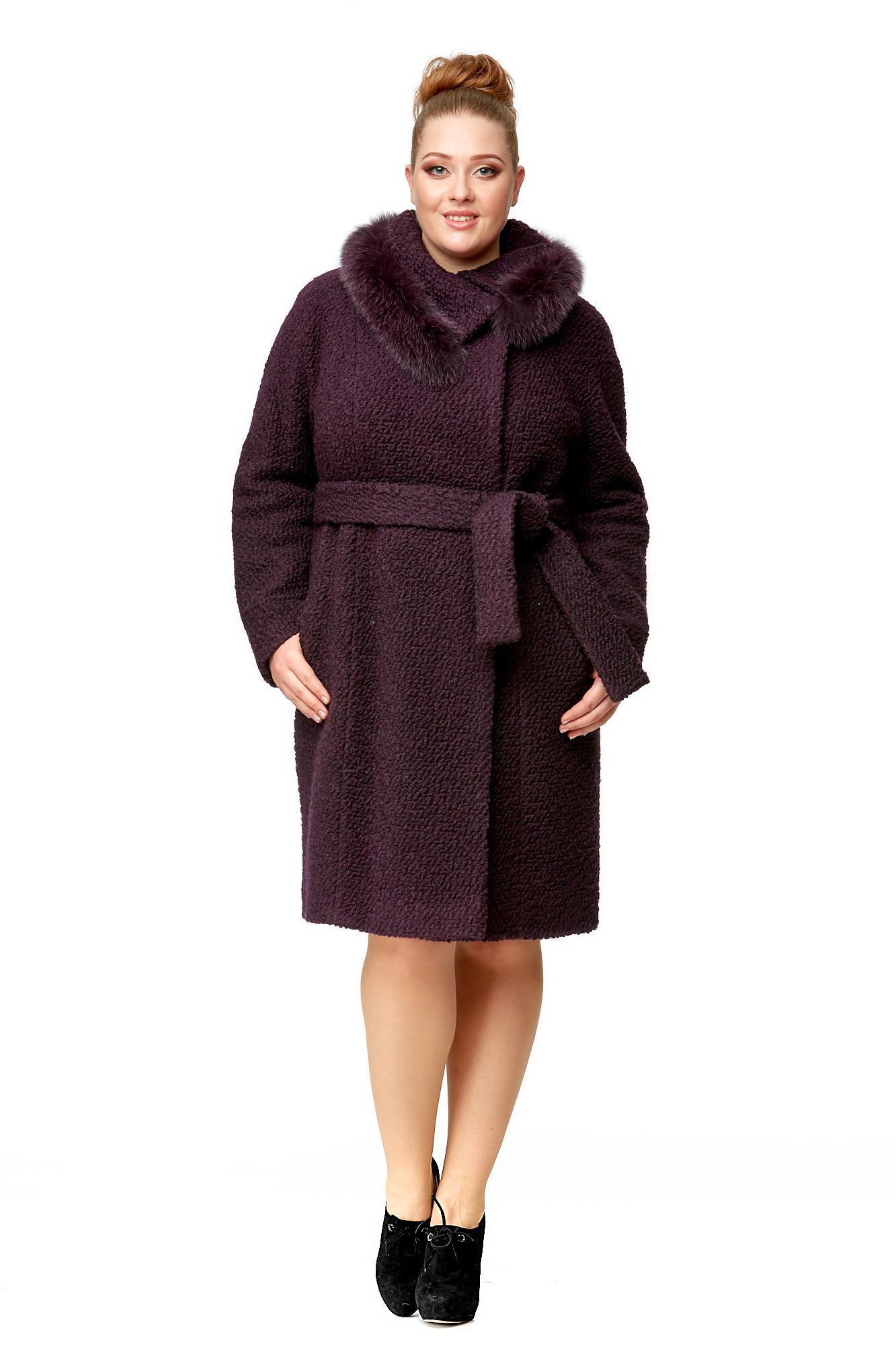 Купить со скидкой Женское пальто из текстиля с воротником, отделка песец