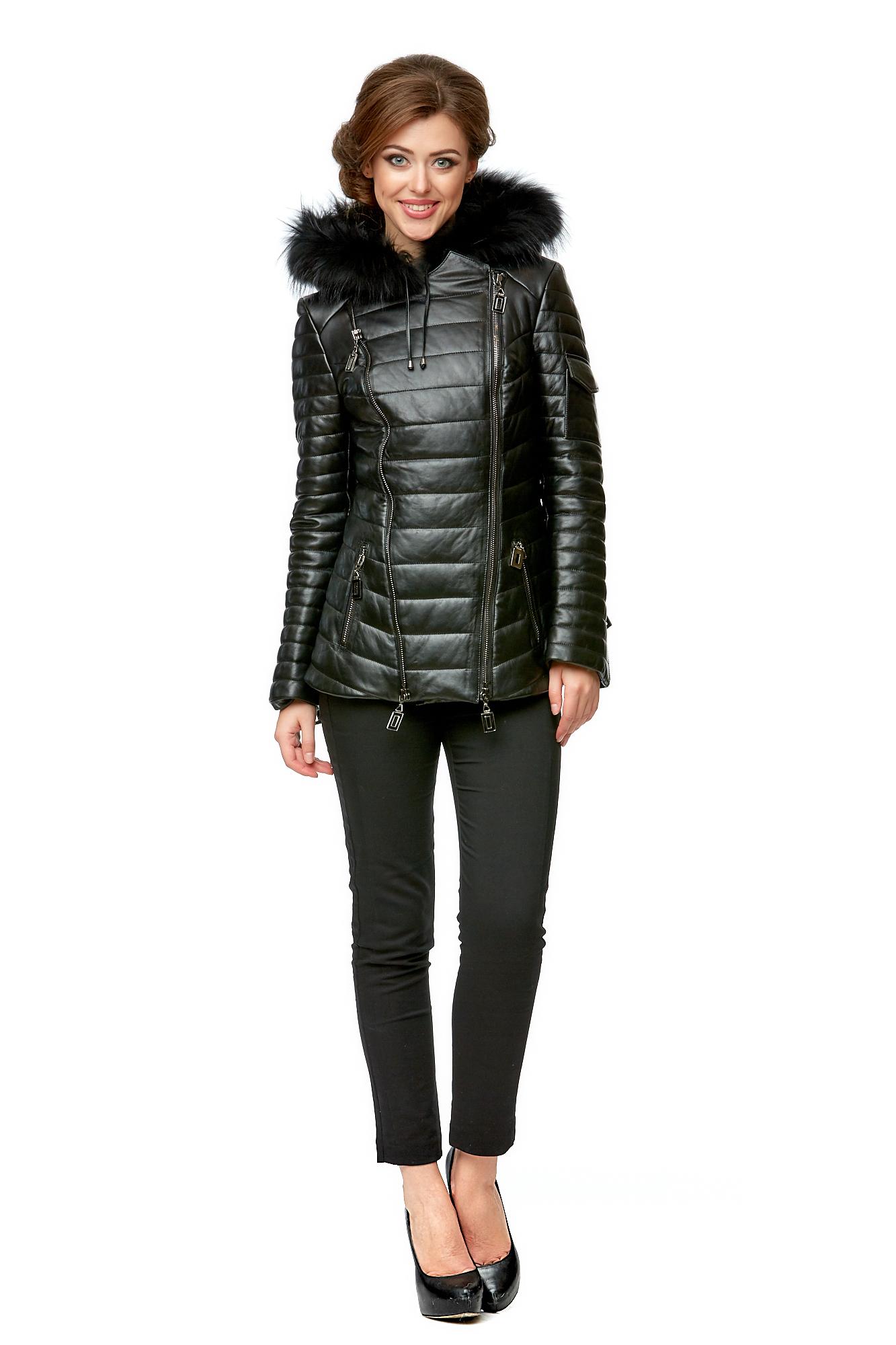 Купить Женская кожаная куртка из натуральной кожи, МОСМЕХА, черный, Кожа натуральная, 8002025