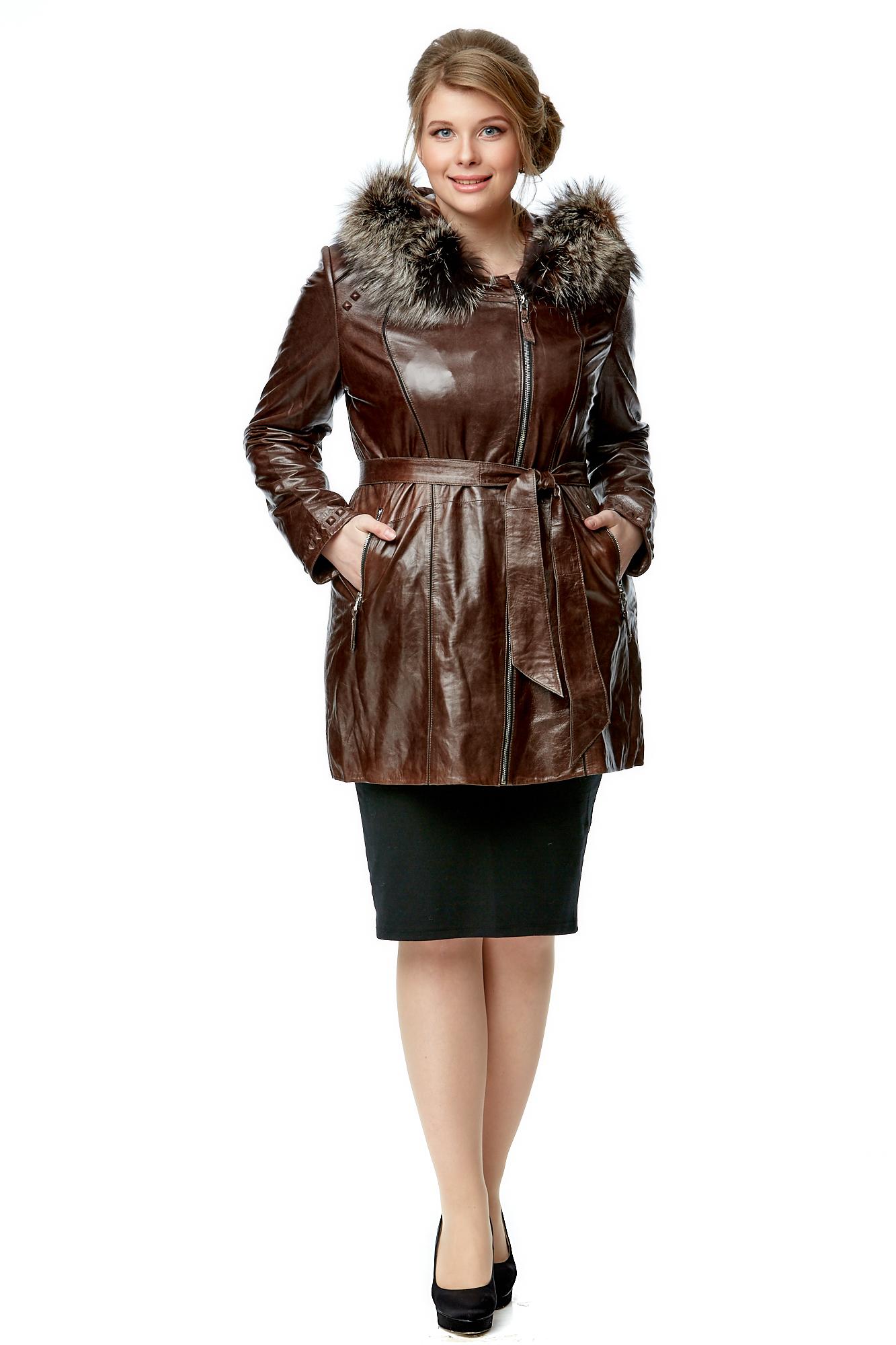 Купить со скидкой Женская кожаная куртка из натуральной кожи с капюшоном, отделка енот