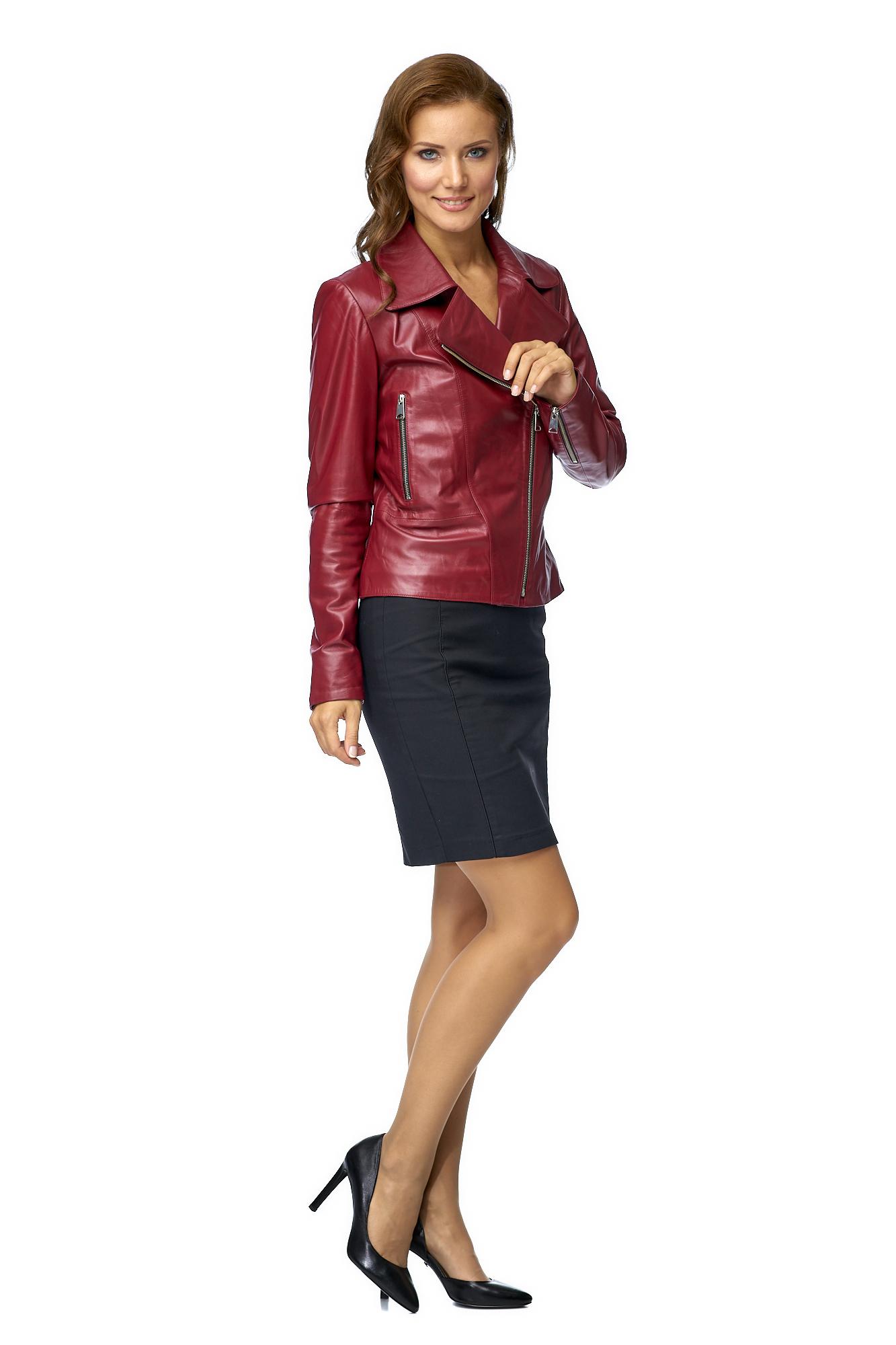 Купить Женская кожаная куртка из натуральной кожи, МОСМЕХА, красный, Кожа натуральная, 8002350