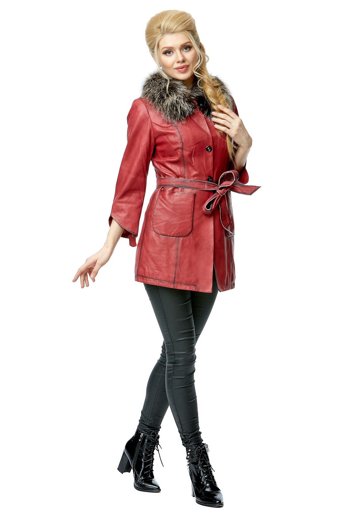 Женская кожаная куртка из натуральной кожи с воротником, отделка блюфрост