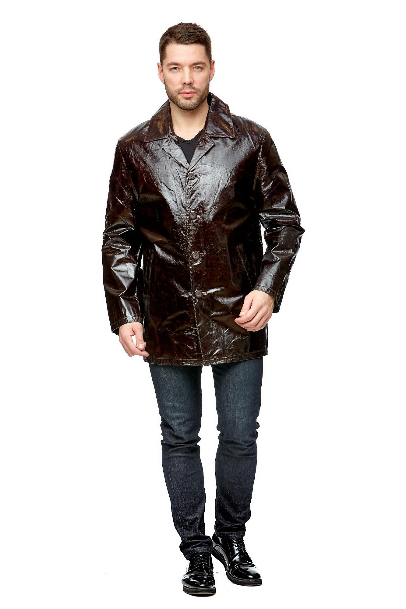 Купить Мужская кожаная куртка из натуральной кожи, МОСМЕХА, коричневый, Кожа натуральная, 8002580