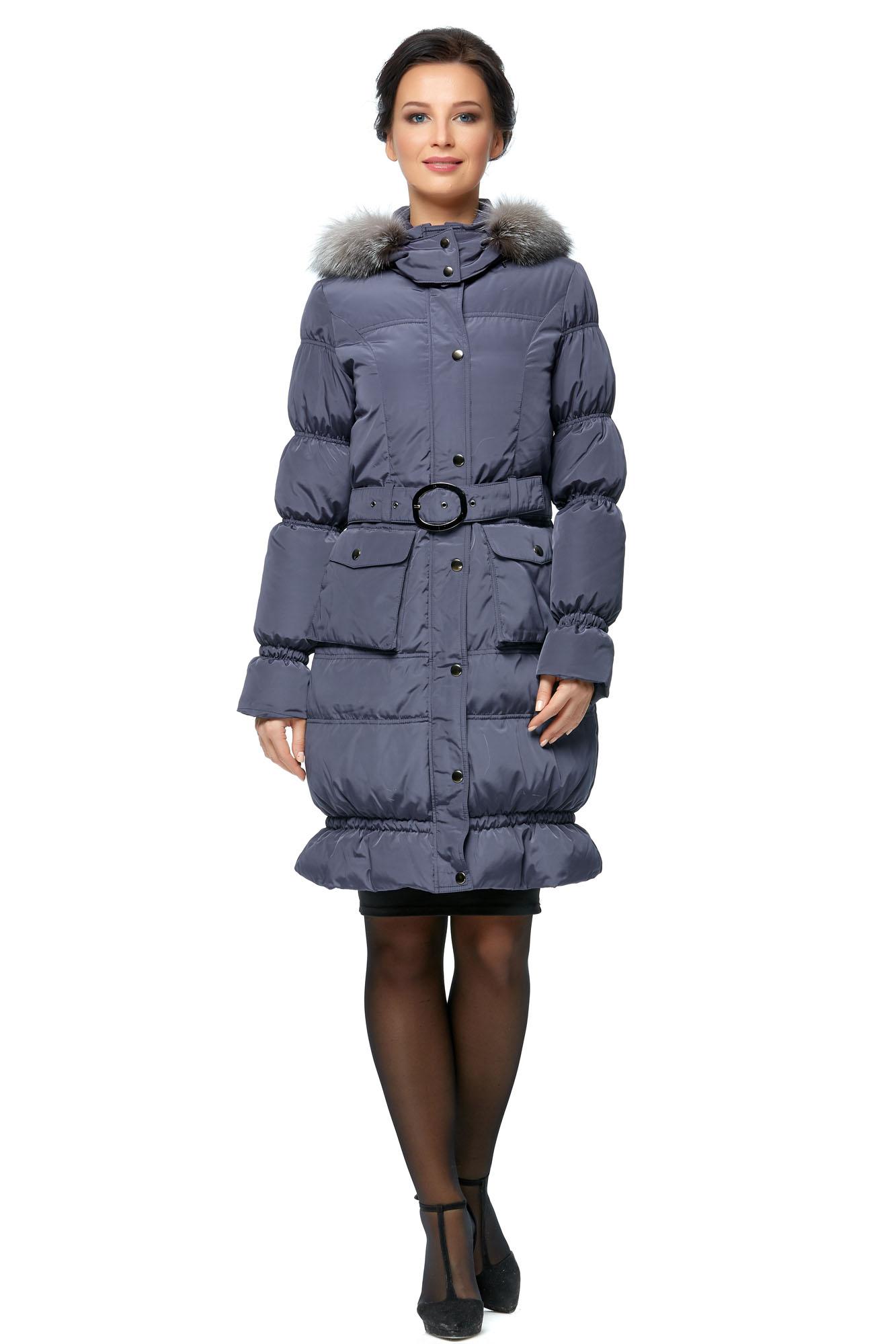 Женское пальто из текстиля с капюшоном, отделка блюфрост