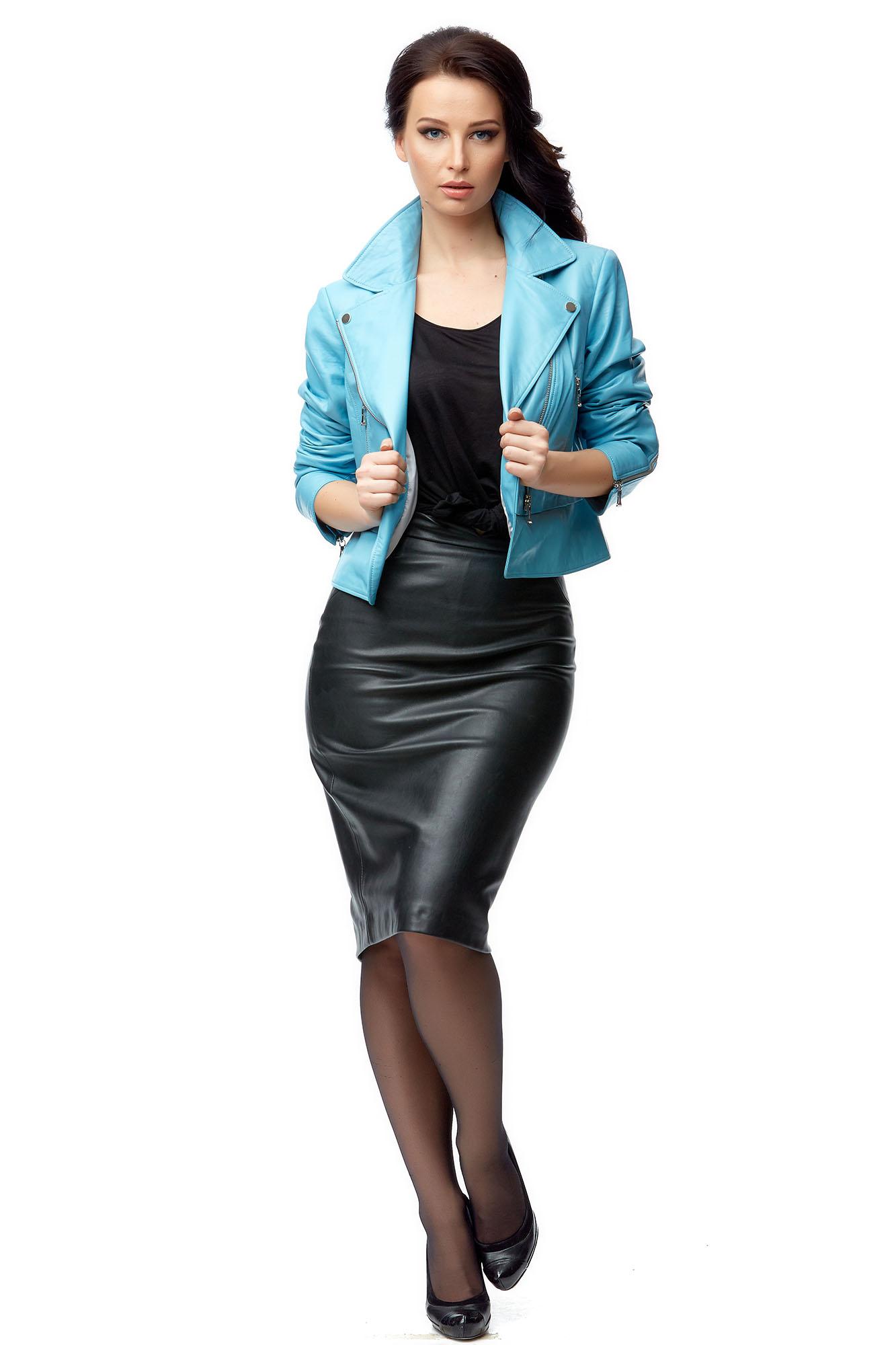 Купить Женская кожаная куртка из натуральной кожи, МОСМЕХА, голубой, Кожа натуральная, 8003150