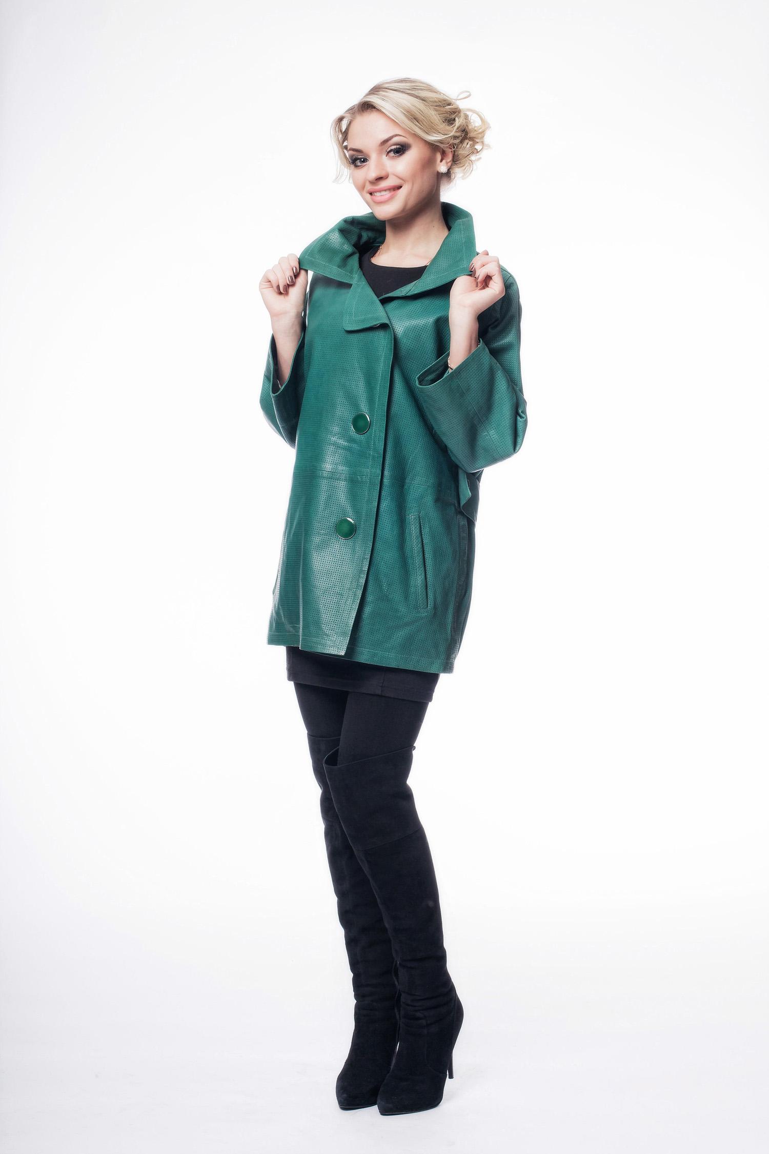 Купить Женская кожаная куртка из натуральной кожи, МОСМЕХА, зеленый, Кожа натуральная, 8003250