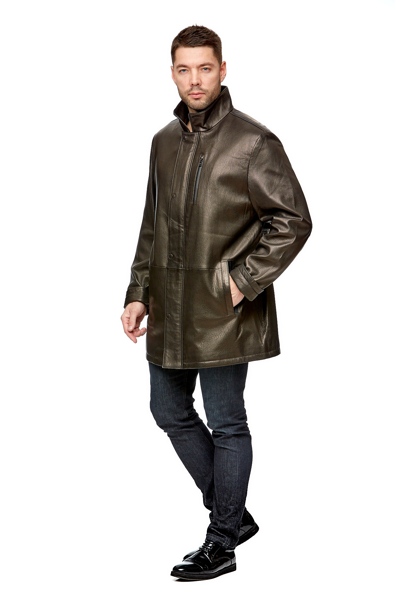 Мужская кожаная куртка из натуральной кожи с воротником МОСМЕХА