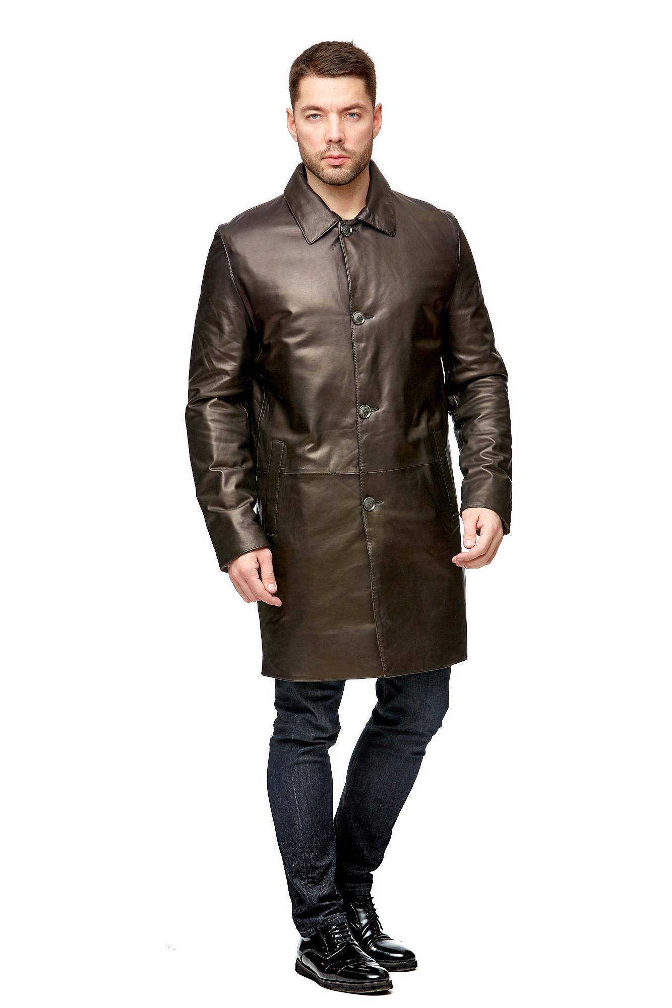 Мужское кожаное пальто из натуральной кожи с воротником