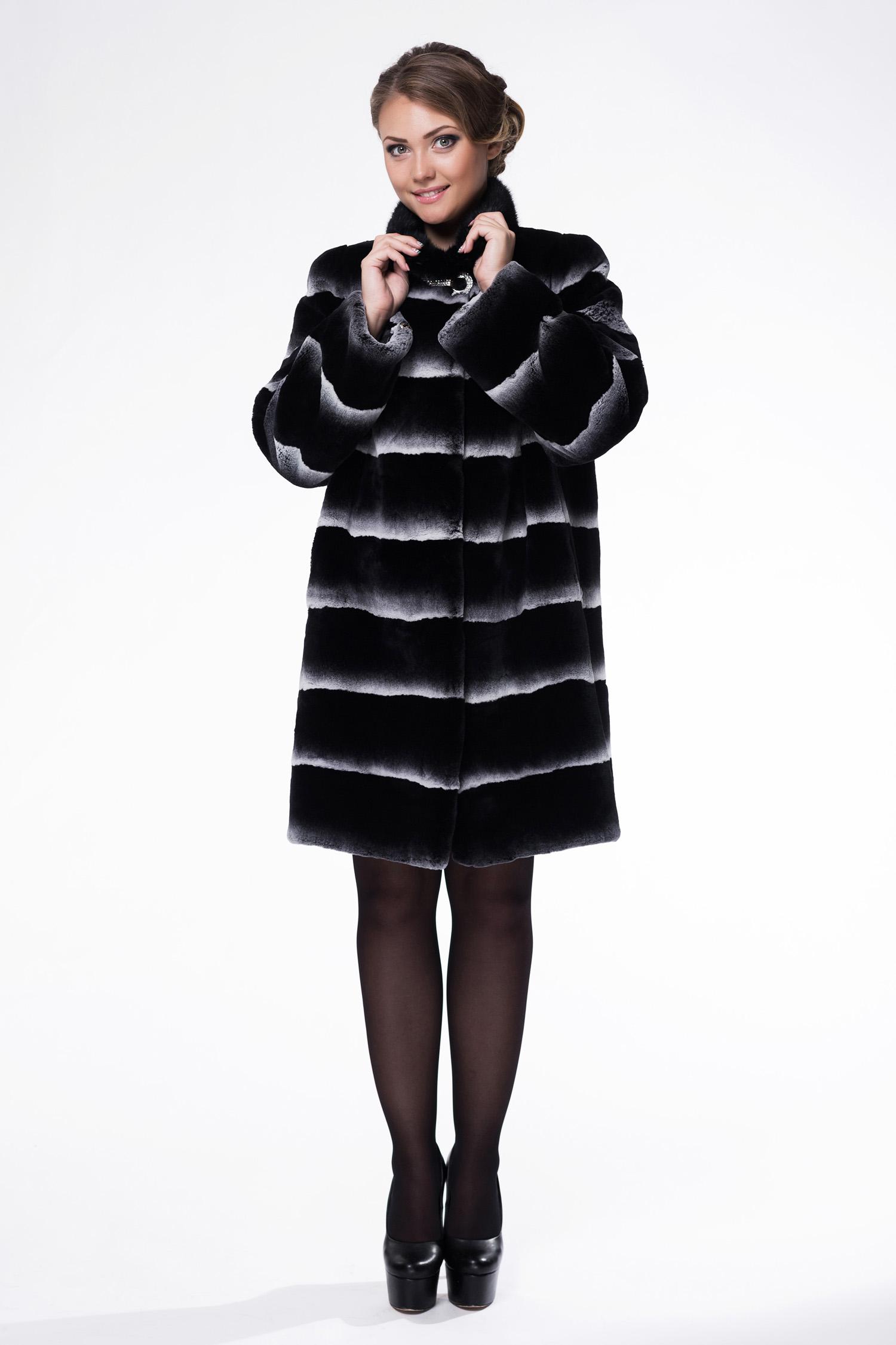 Женское пальто из текстиля с воротником, отделка норка МОСМЕХА