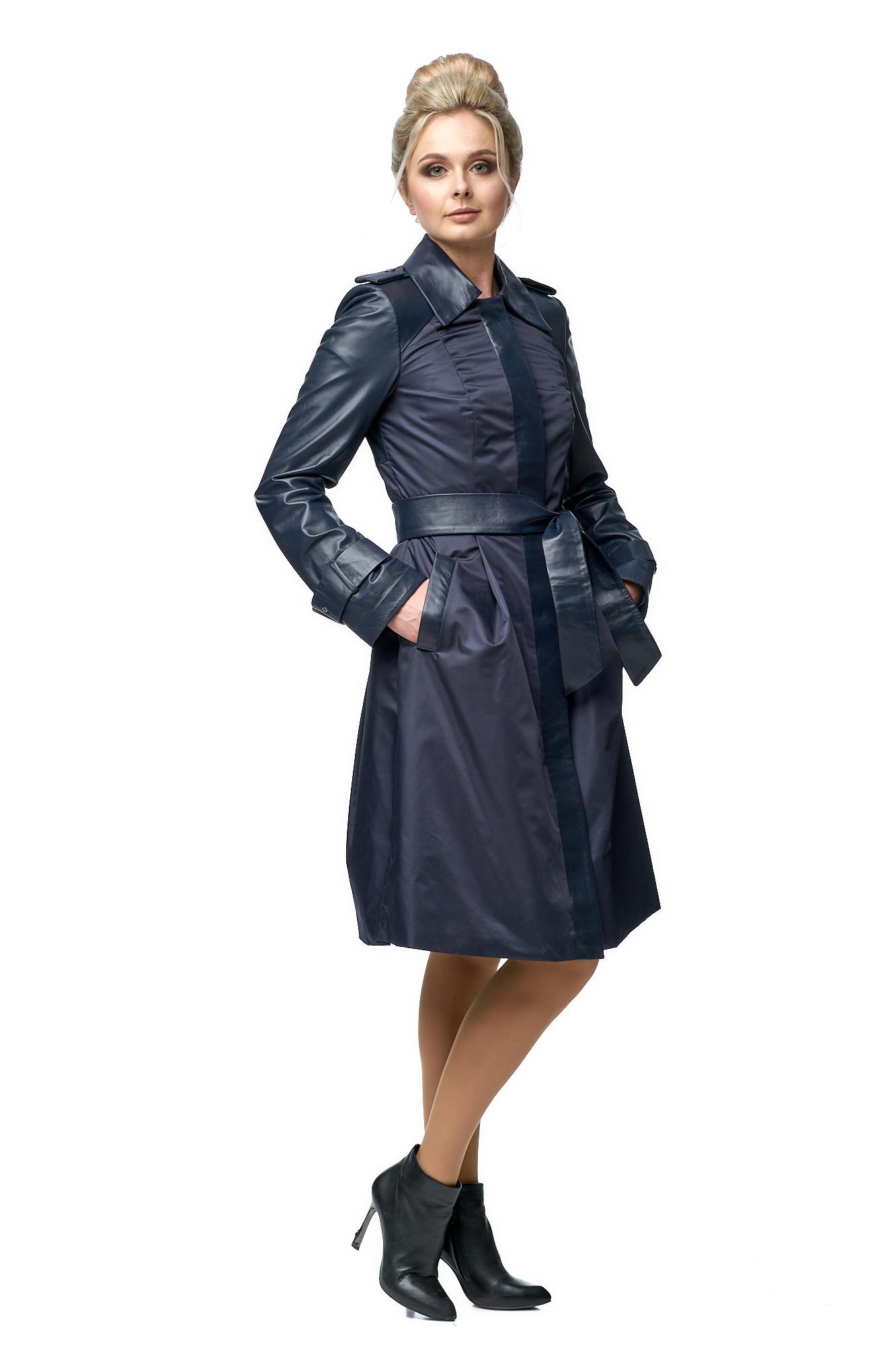Женское кожаное пальто из натуральной кожи с воротником