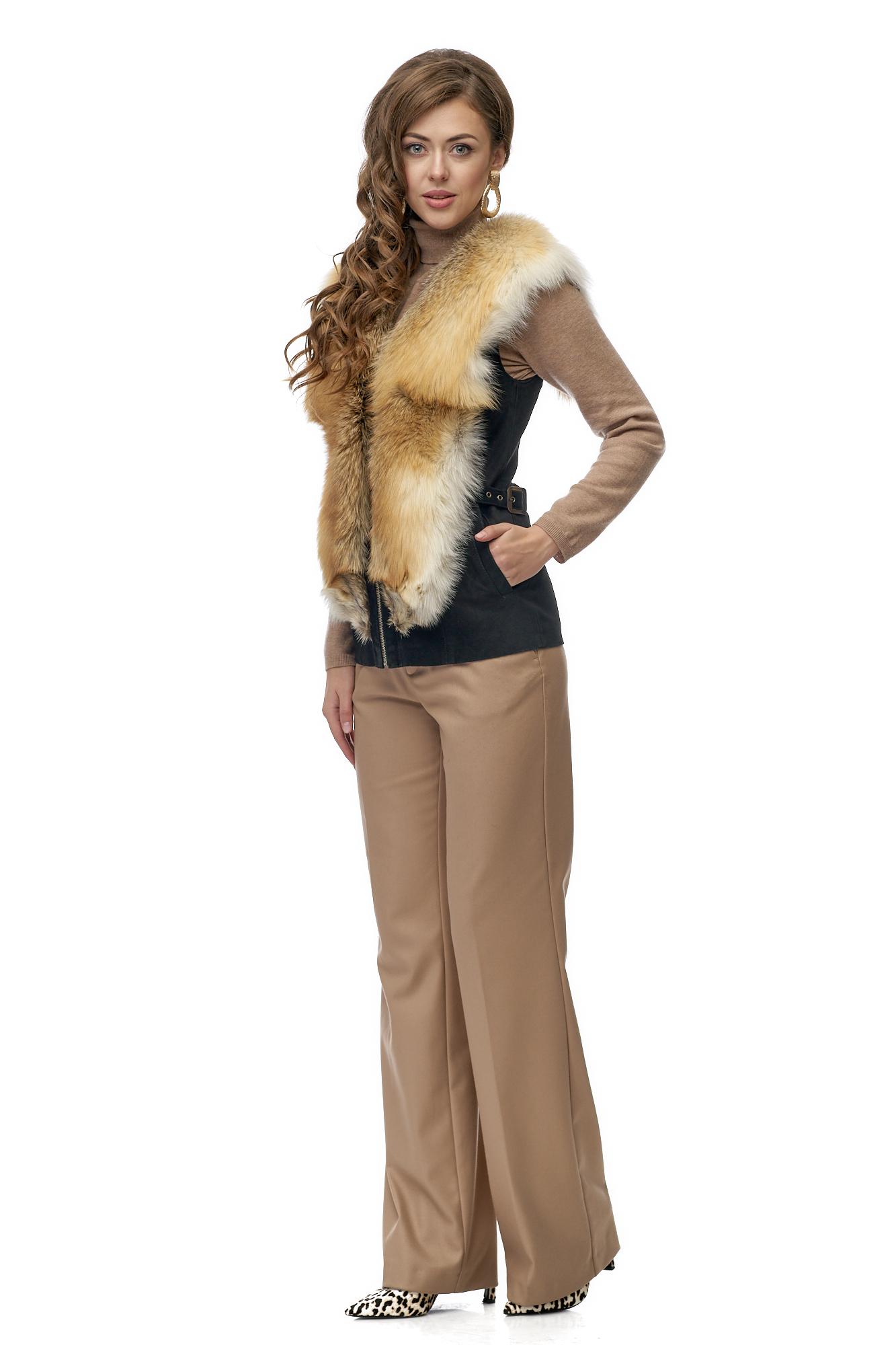 Женская кожаная жилетка из натуральной кожи с воротником, отделка лиса МОСМЕХА
