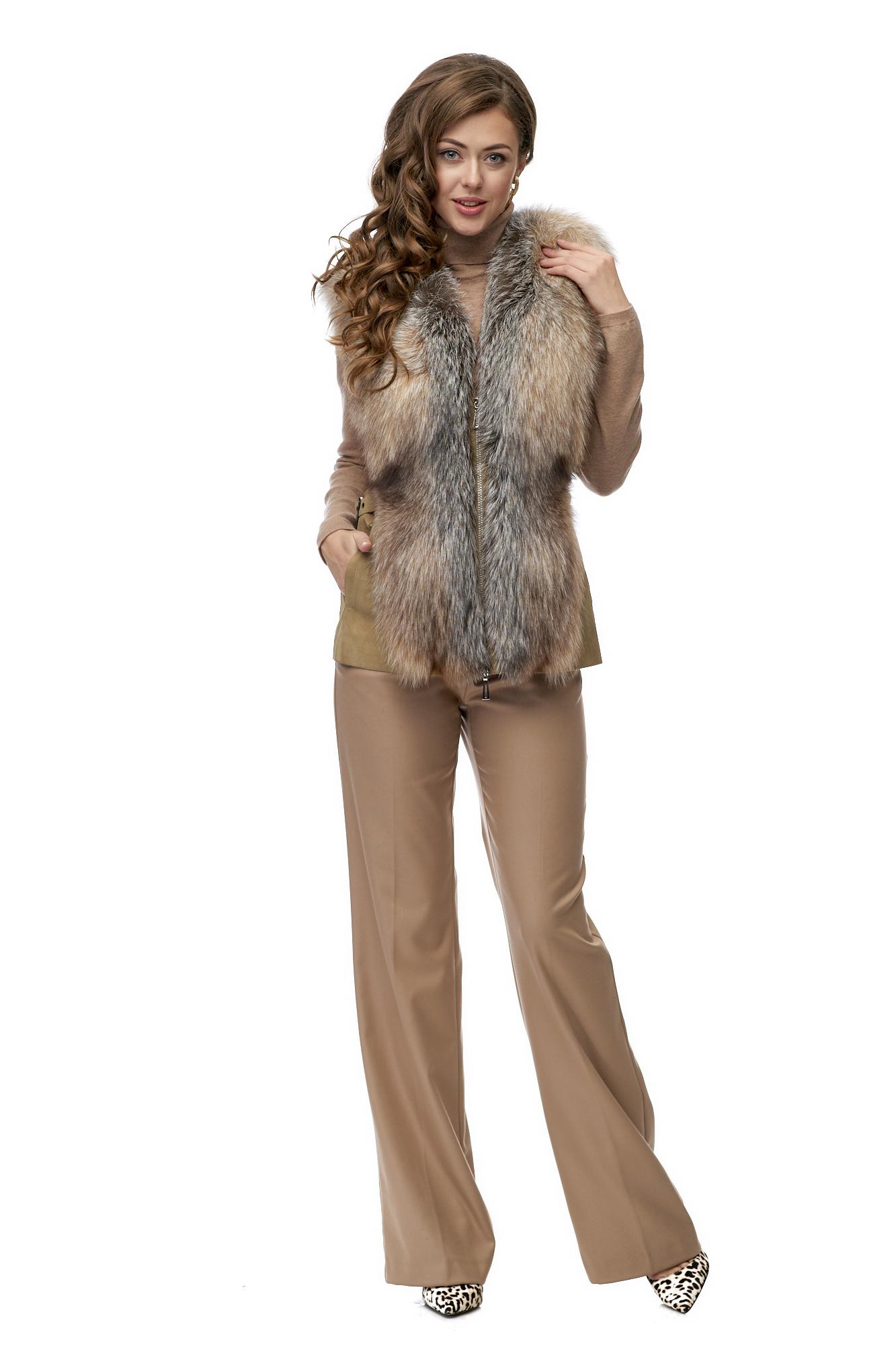 Женская кожаная жилетка из натуральной кожи с воротником, отделка песец