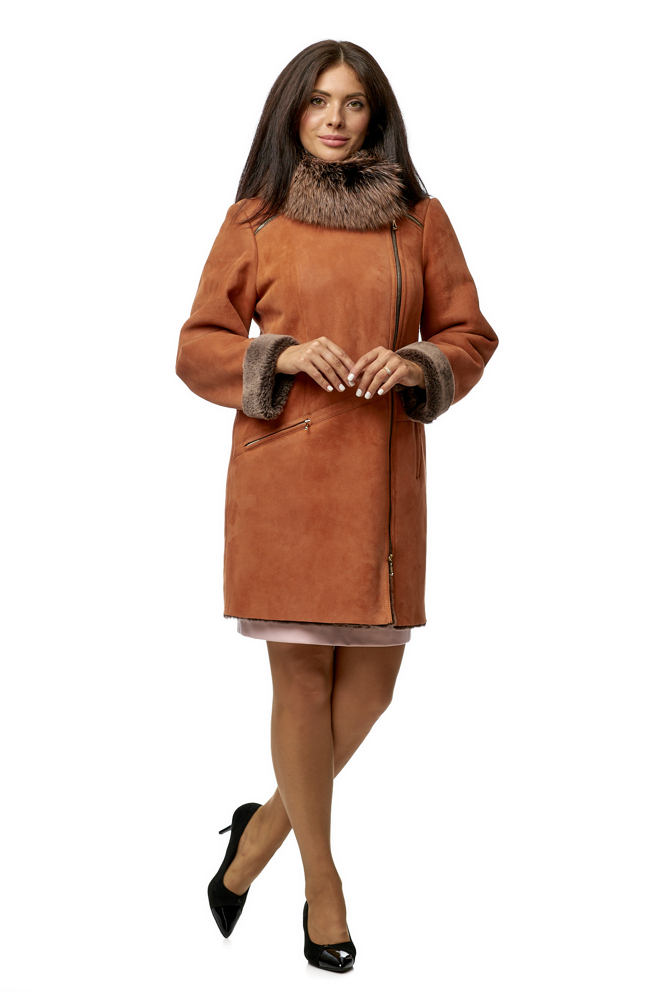 Дубленка женская из натуральной овчины с воротником МОСМЕХА