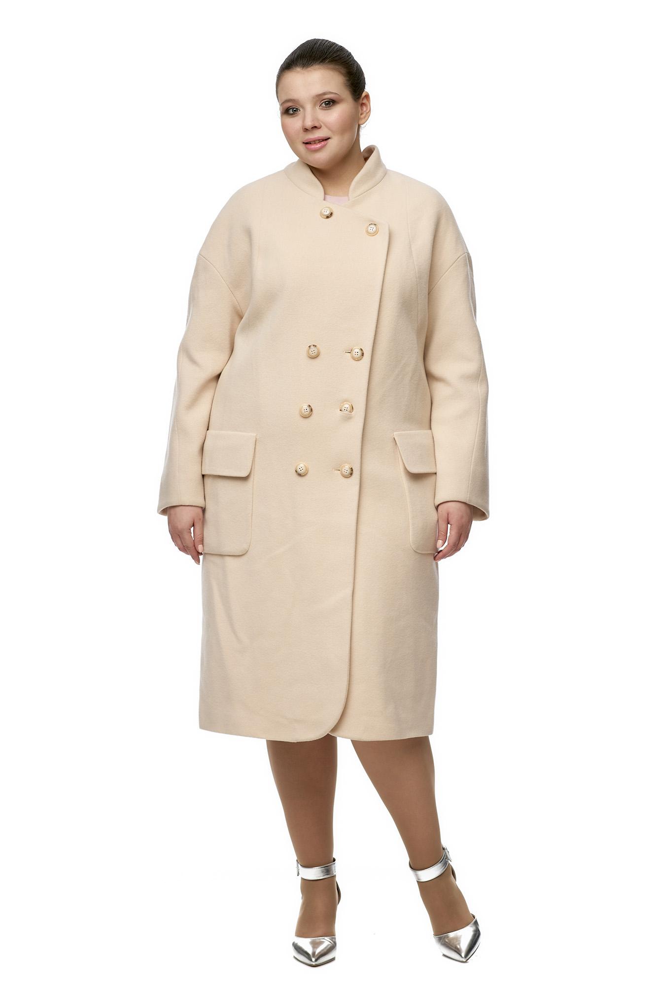 Женское пальто из текстиля с воротником МОСМЕХА