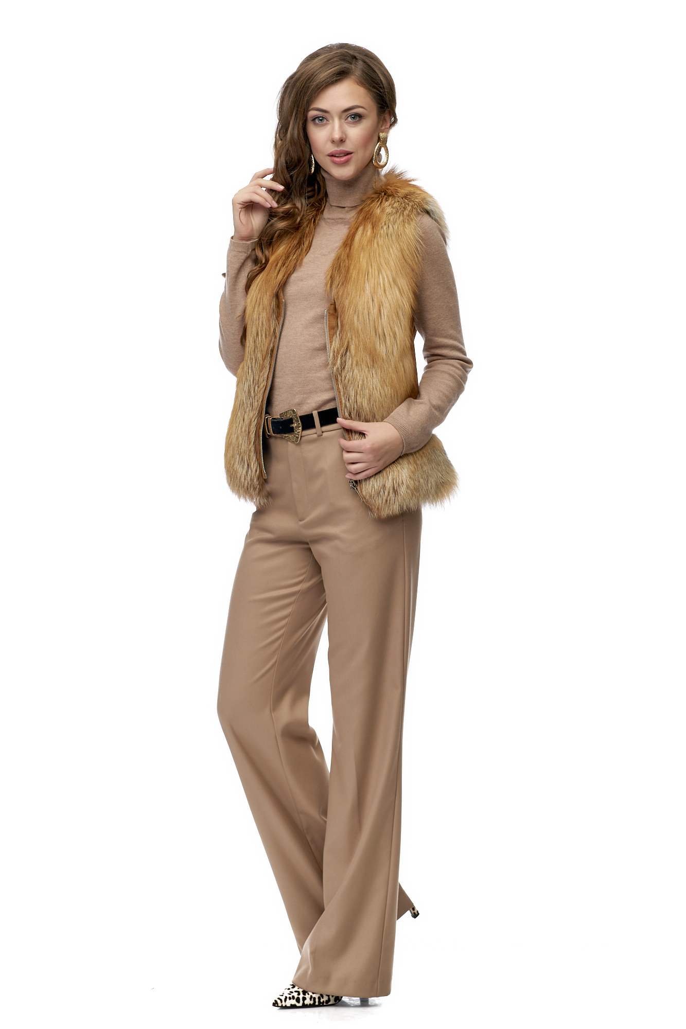 Меховой жилет женский из лисы