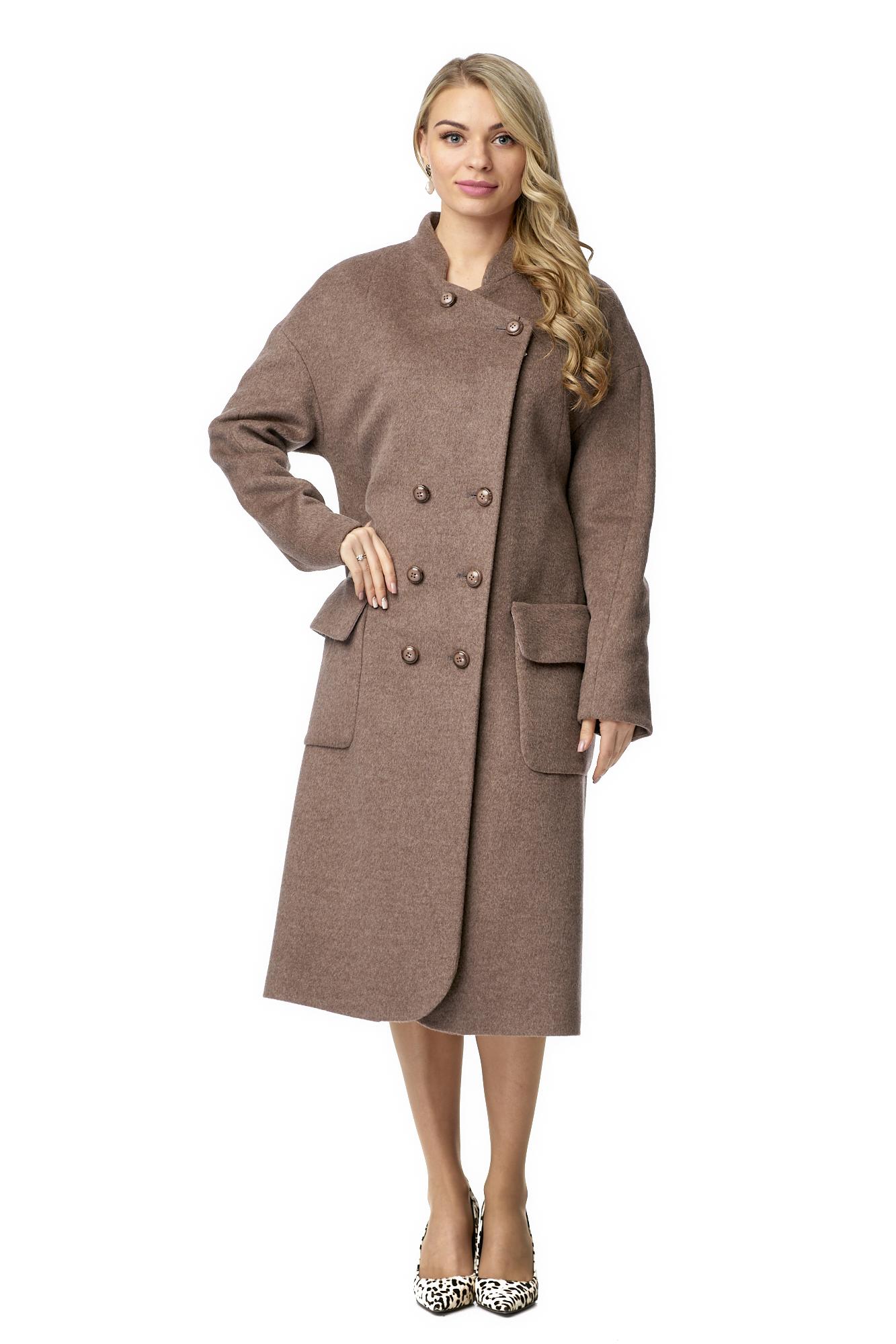 Женское пальто из текстиля с воротником фото 2
