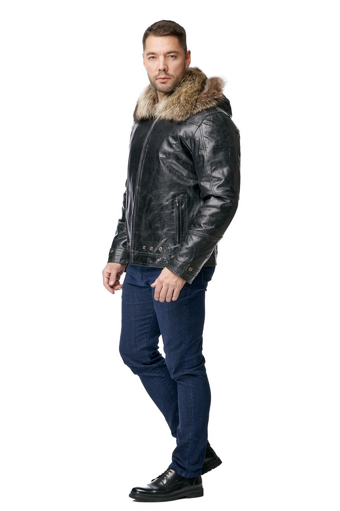 Мужская кожаная куртка из натуральной кожи на меху с капюшоном, отделка енот