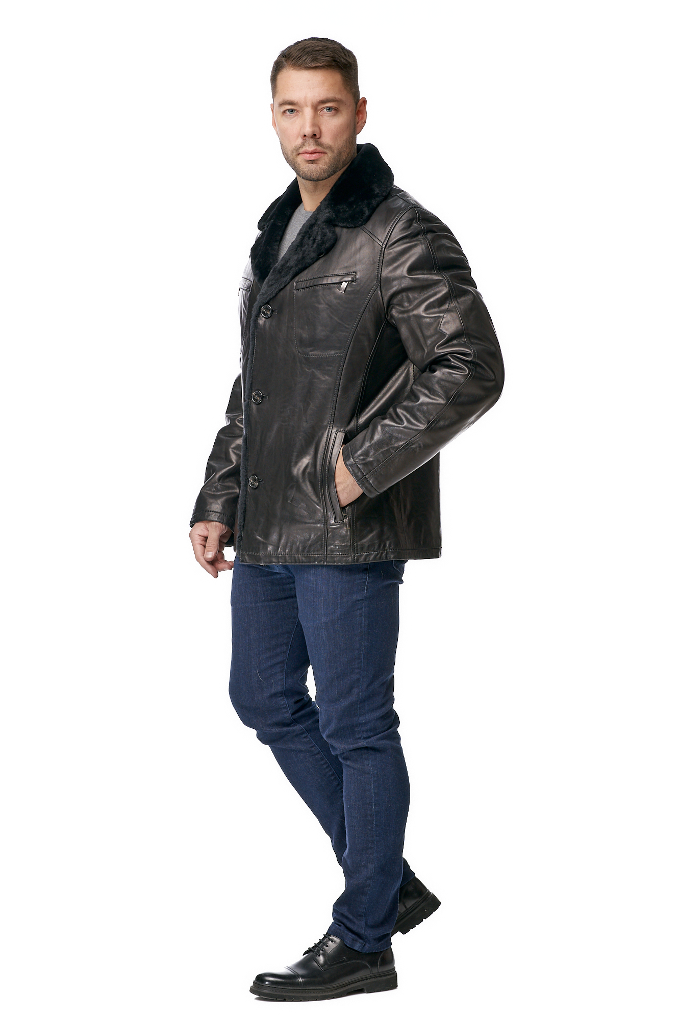 Мужская кожаная куртка из натуральной кожи на меху с воротником
