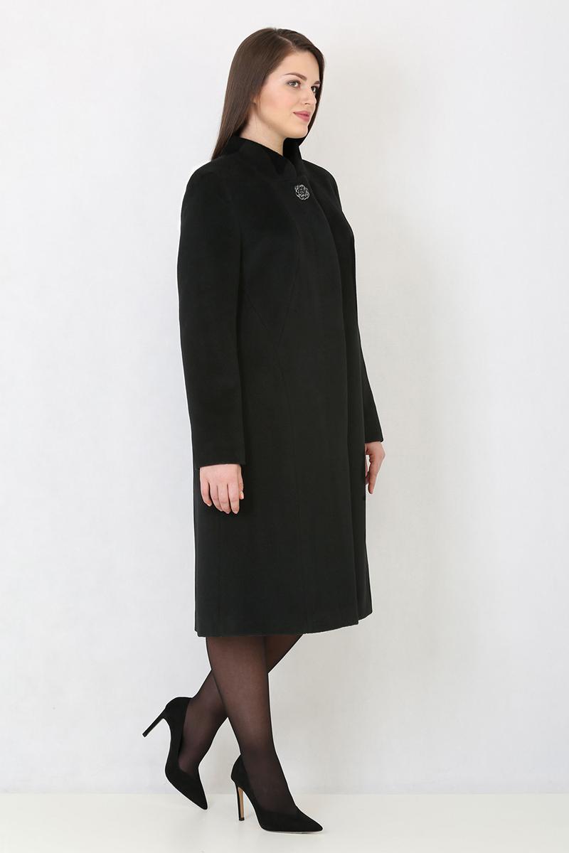 Женское пальто из текстиля с воротником фото 3
