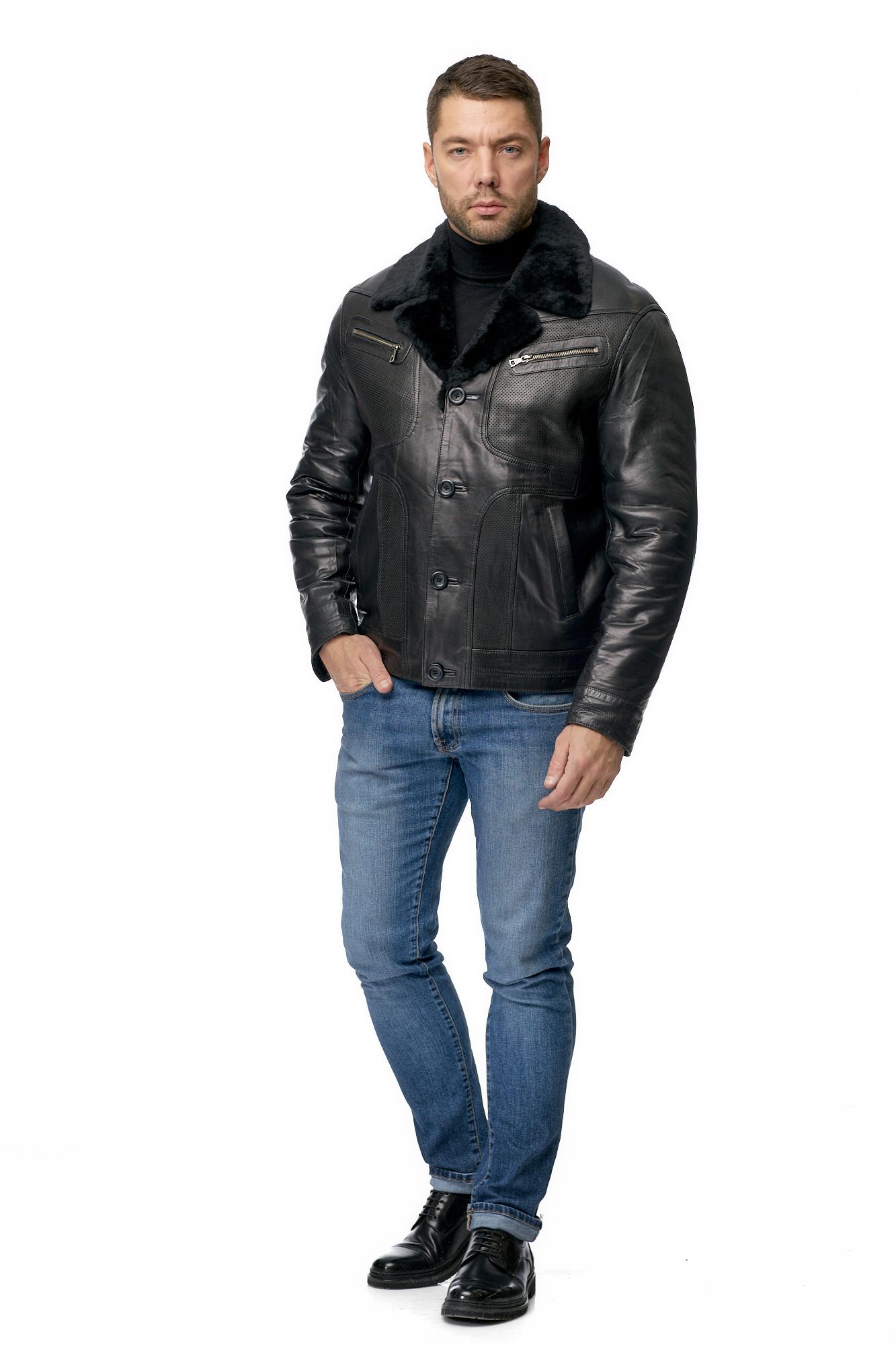 Мужская кожаная куртка из натуральной кожи на меху с воротником фото 2
