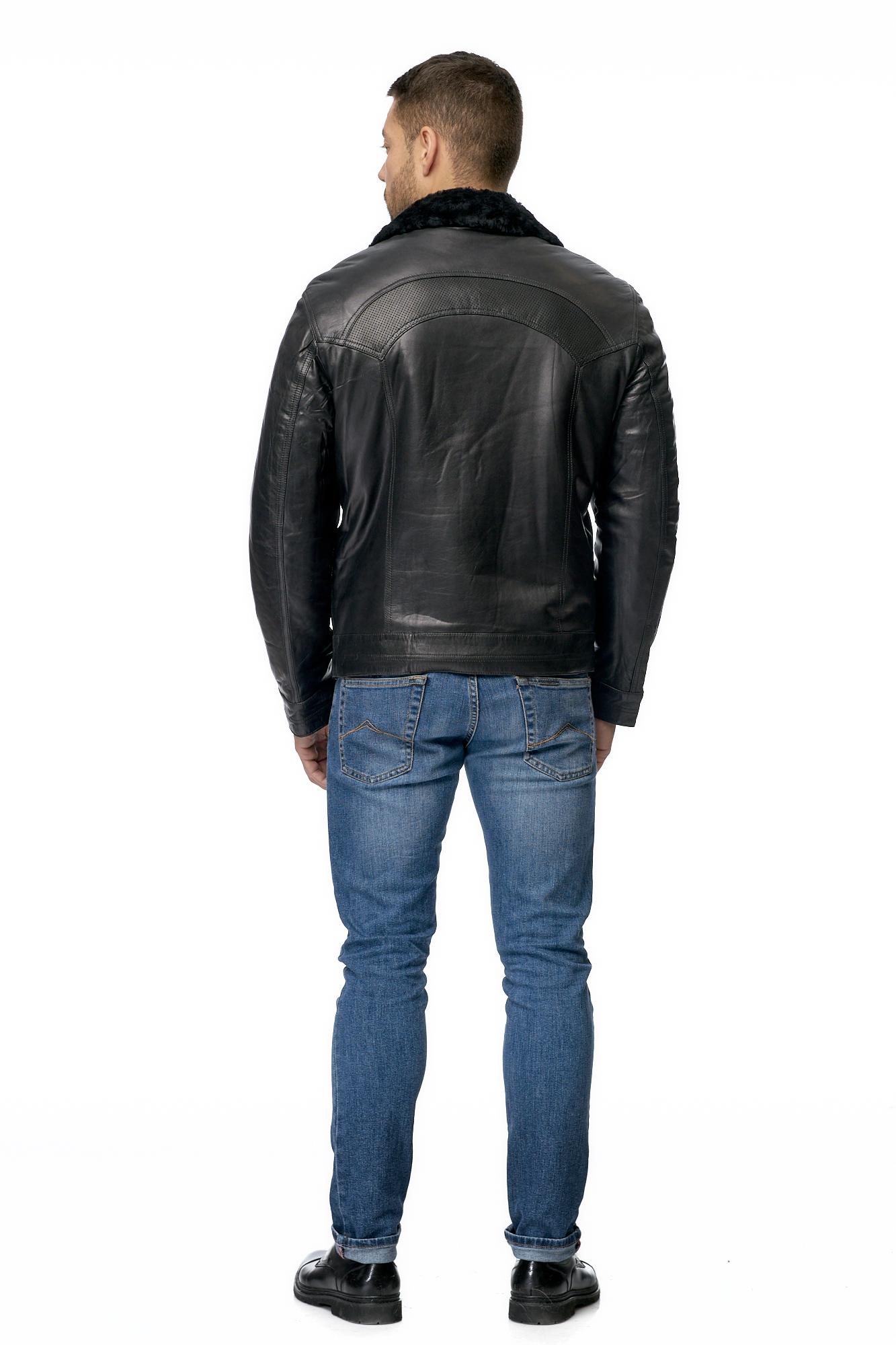 Мужская кожаная куртка из натуральной кожи на меху с воротником фото 3