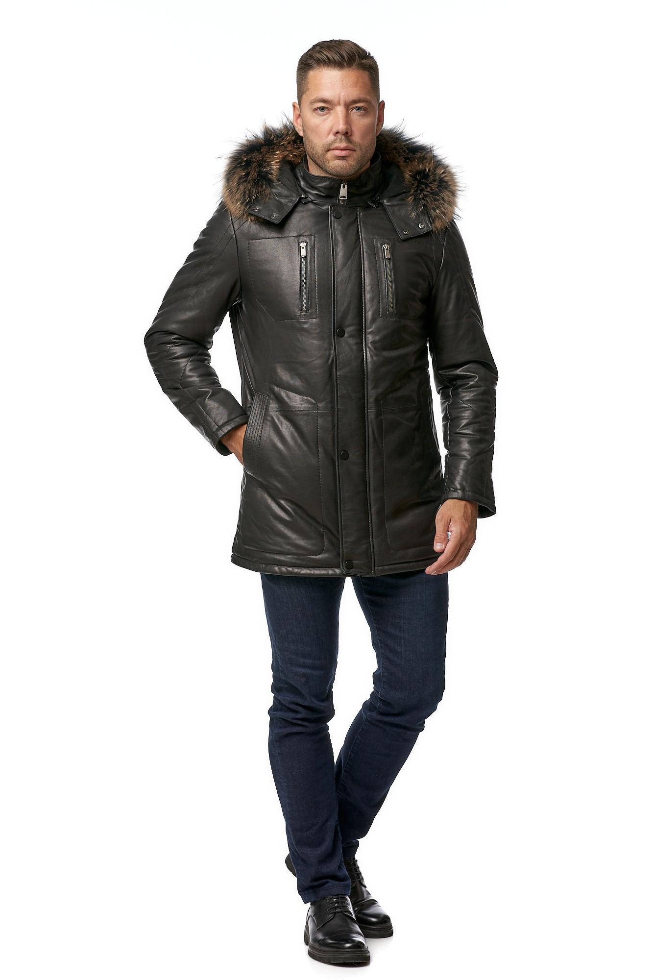 Мужская кожаная куртка из натуральной кожи с капюшоном, отделка енот