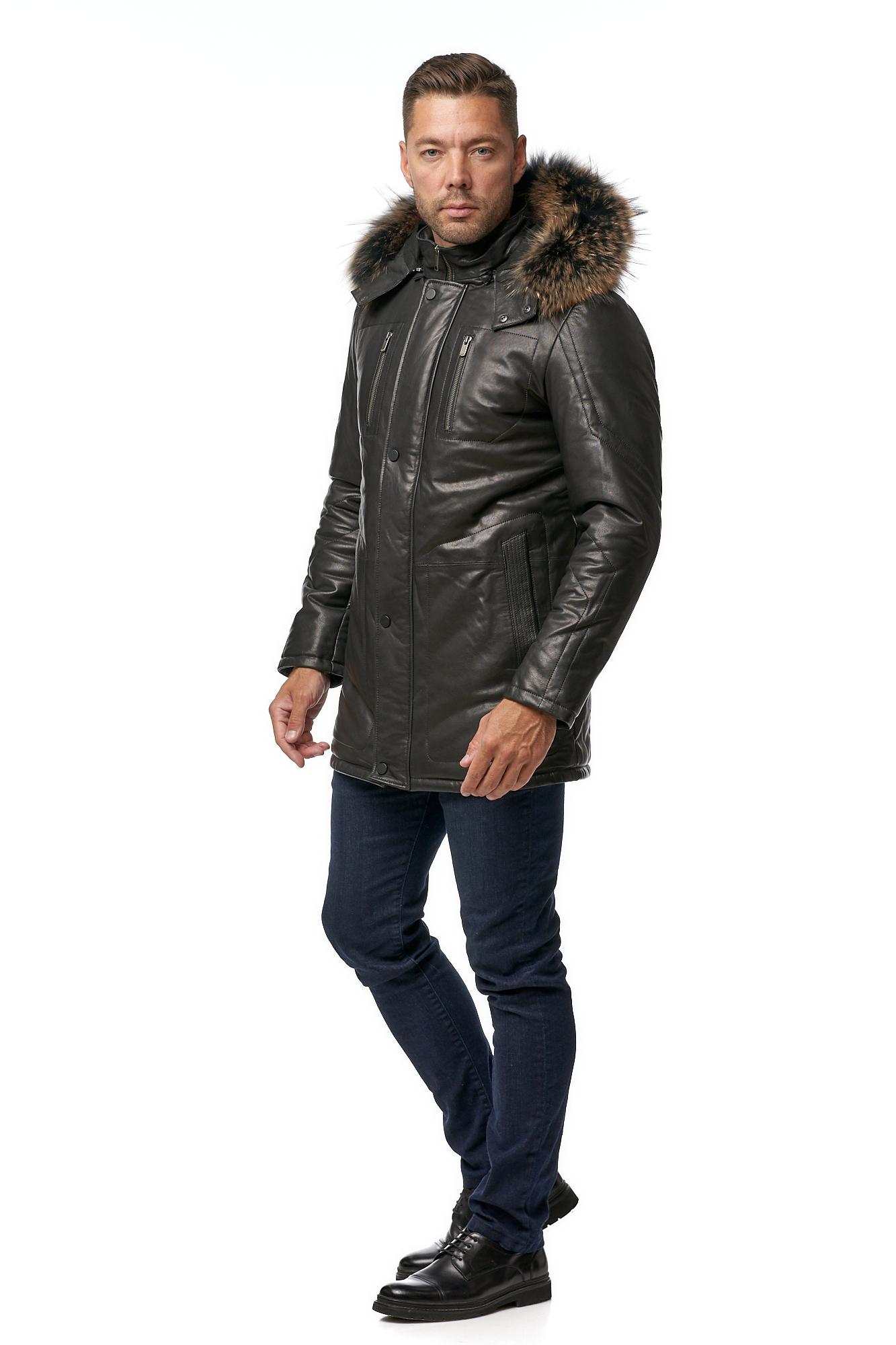 Мужская кожаная куртка из натуральной кожи с капюшоном, отделка енот фото 2