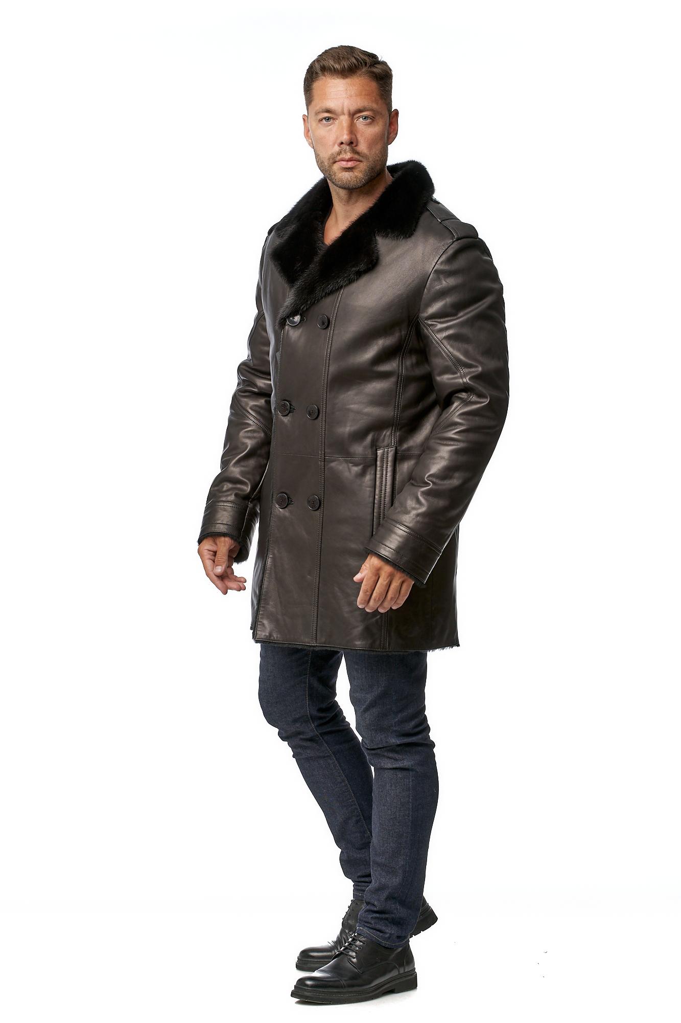 Мужское кожаное пальто из натуральной кожи на меху с воротником, отделка норка