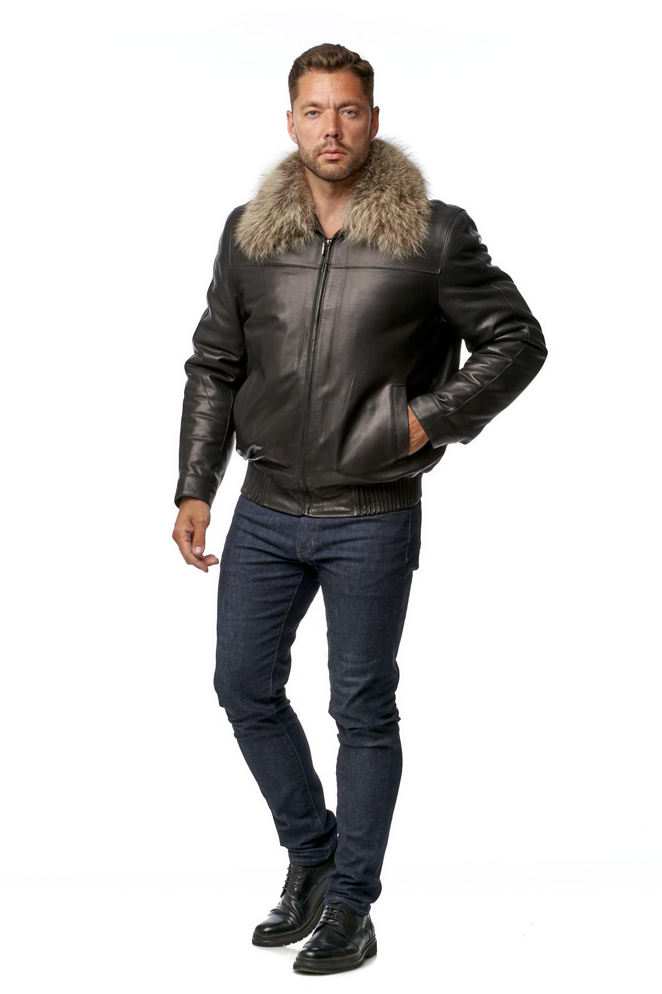 Мужская кожаная куртка из натуральной кожи на меху с воротником, отделка енот