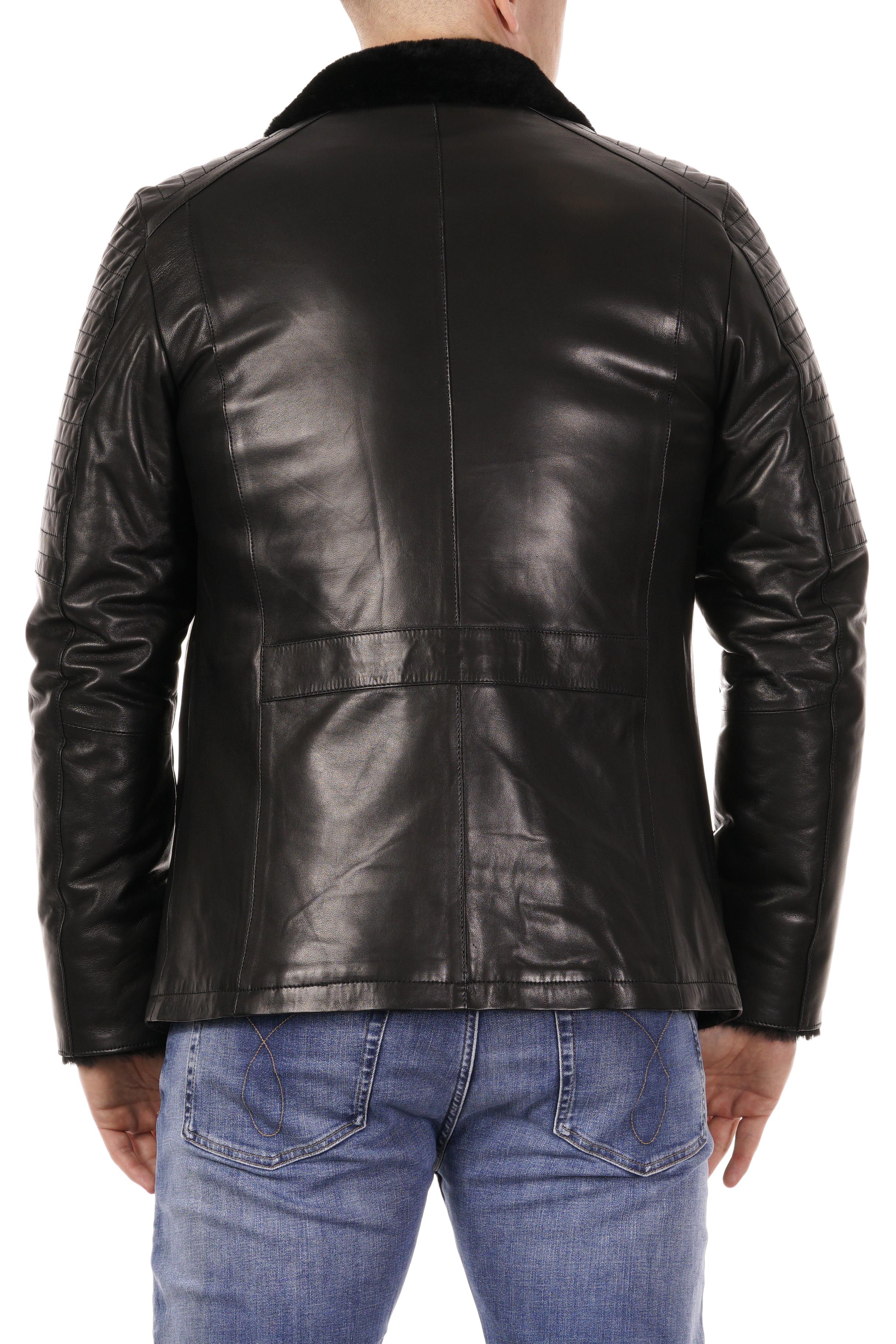 Мужская кожаная куртка из натуральной кожи на меху с воротником фото 4