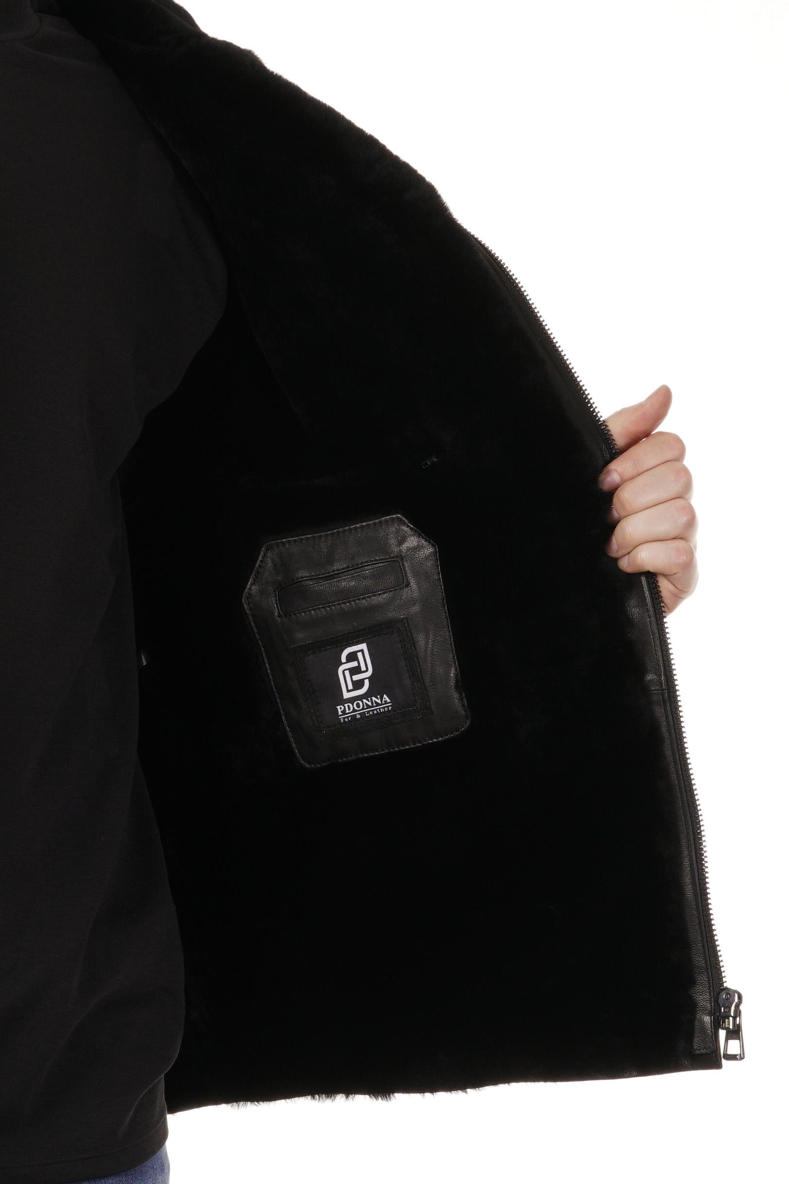Мужская кожаная куртка из натуральной кожи на меху с воротником фото 5