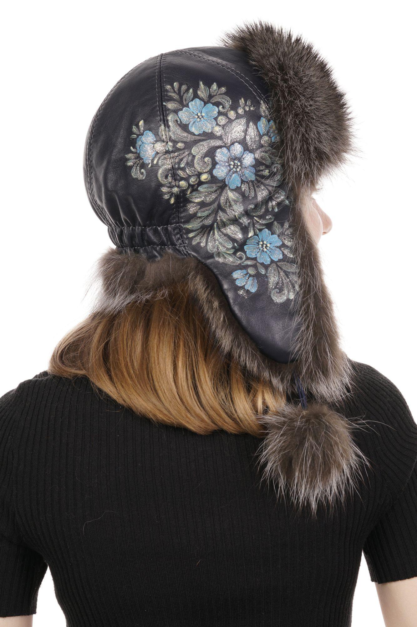 Шапка женская из натуральной кожи с енотом фото 3